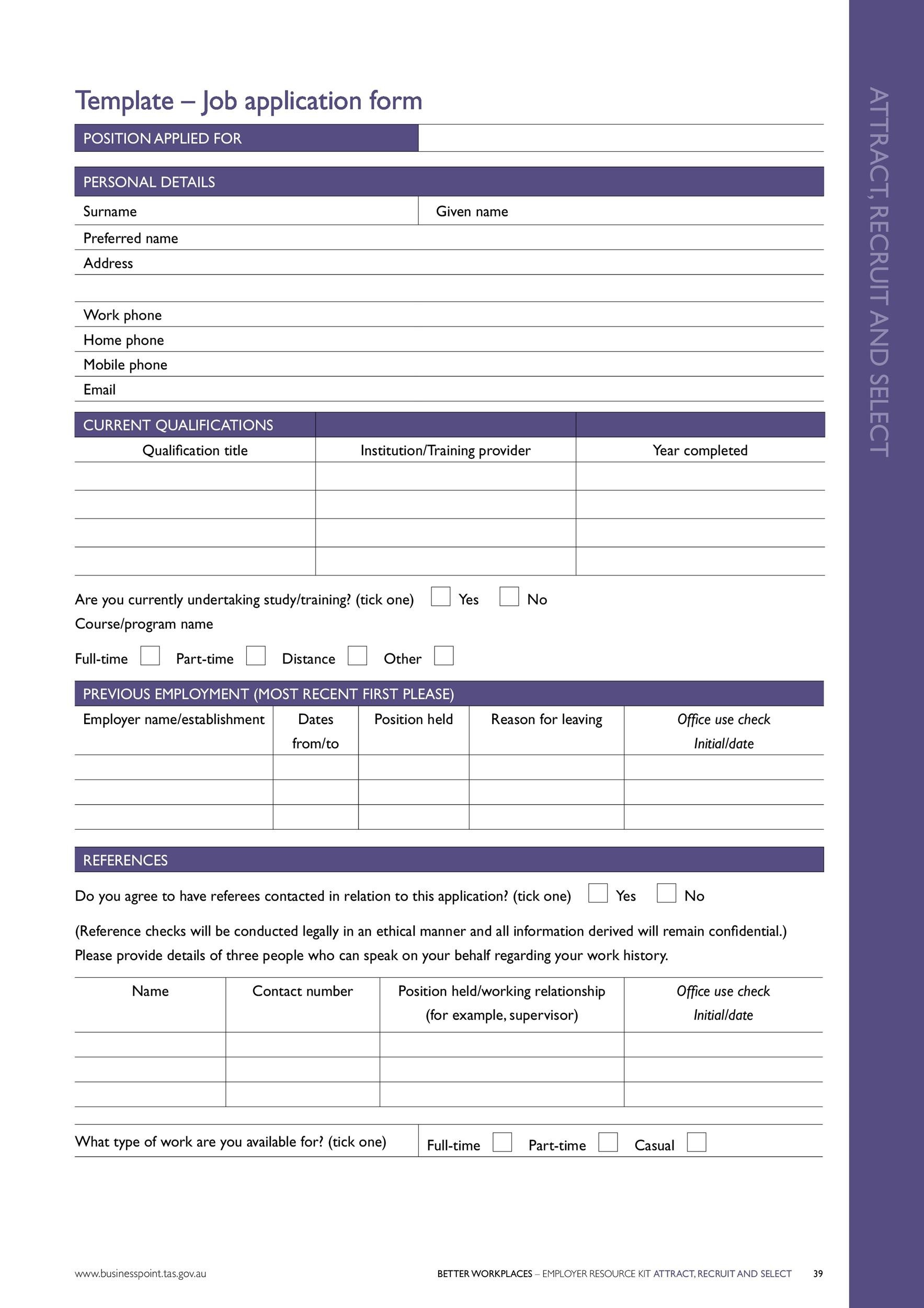 Job Application Form Free Pdf Employment Download 50 Free Employment Job Application Form Templates