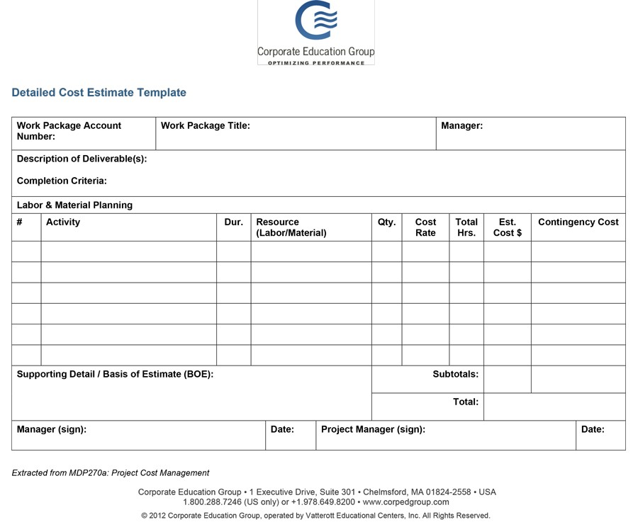 44 Free Estimate Template Forms Construction, Repair, Cleaning - project estimate template