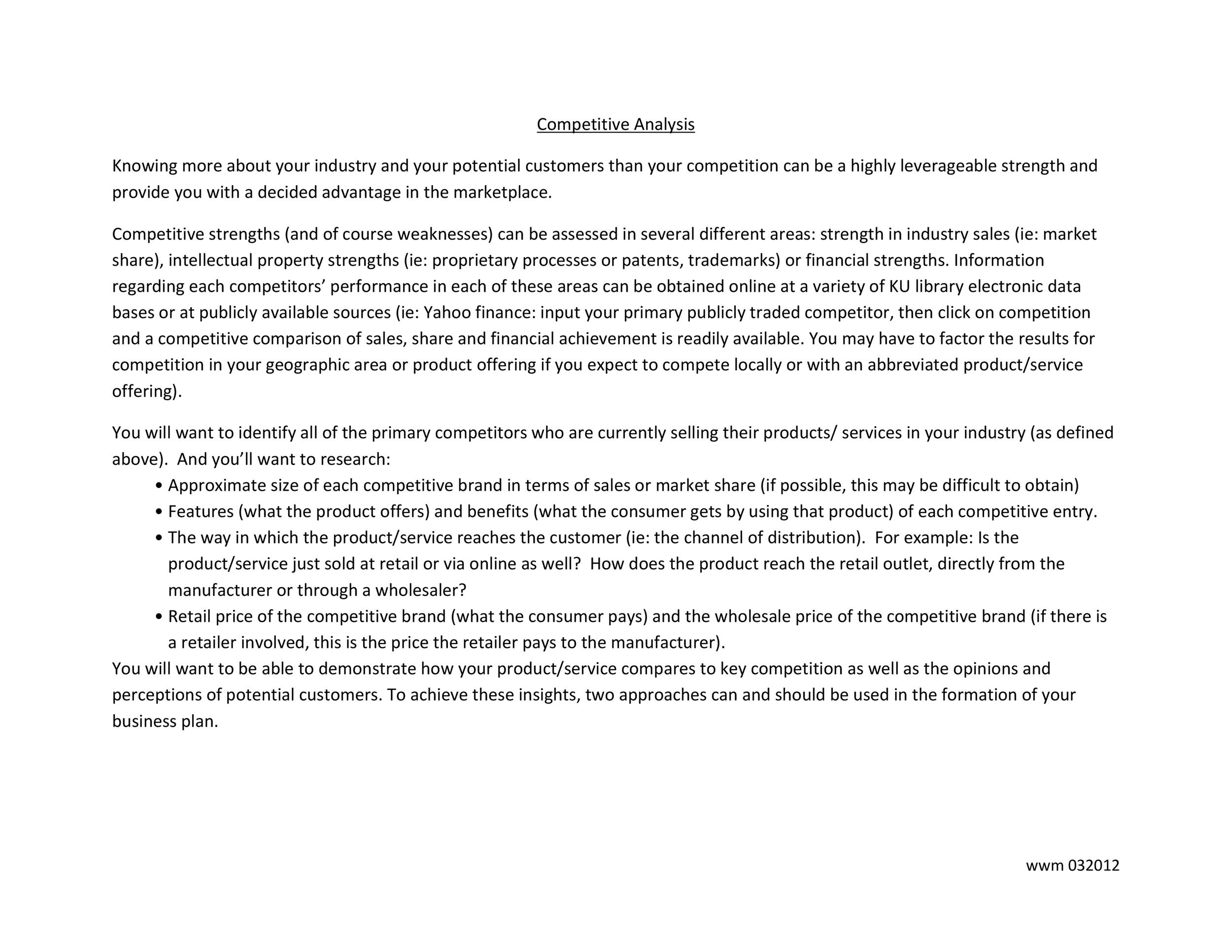 Industry Analysis Template Industry Analysis Template In Word