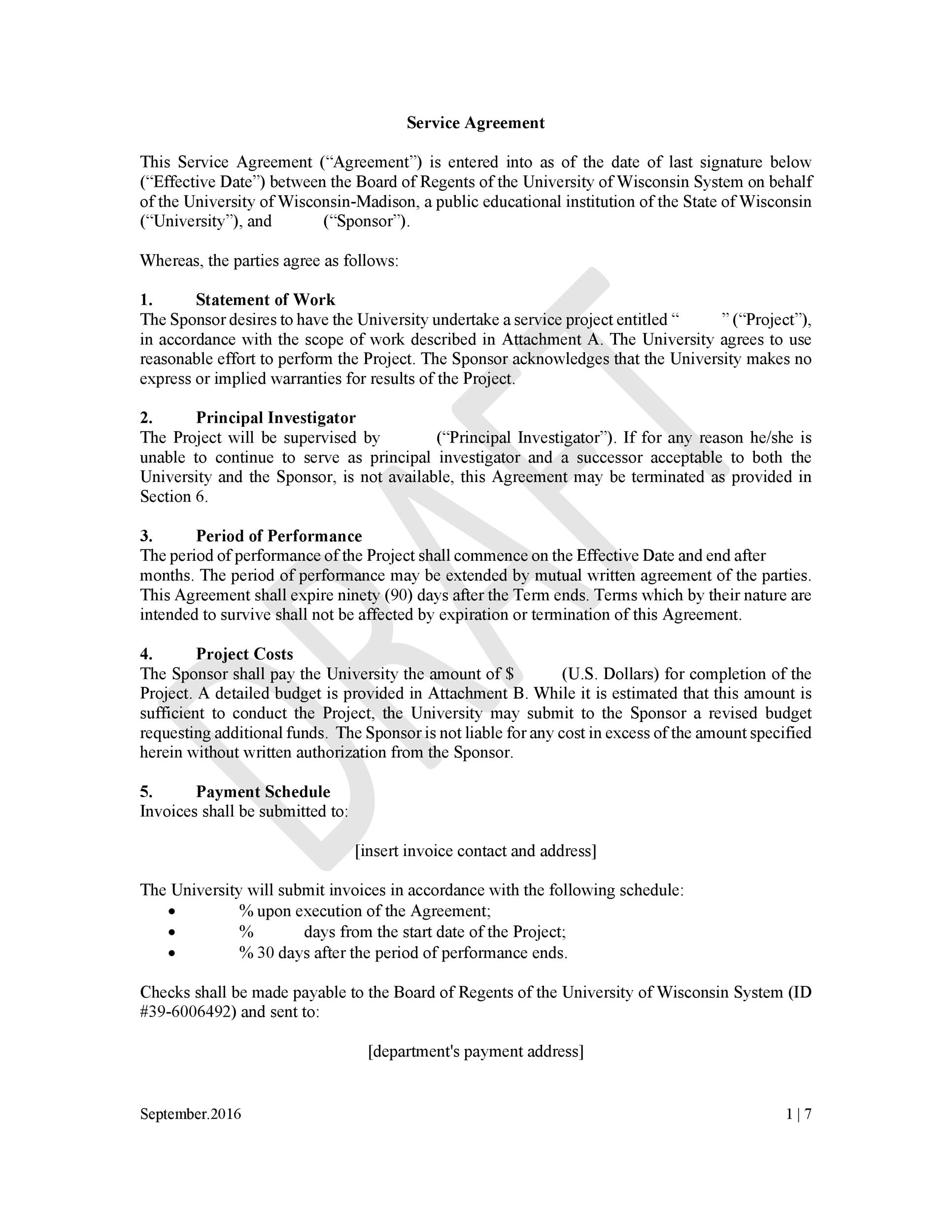 Service Agreement Template Master Services Agreement Template