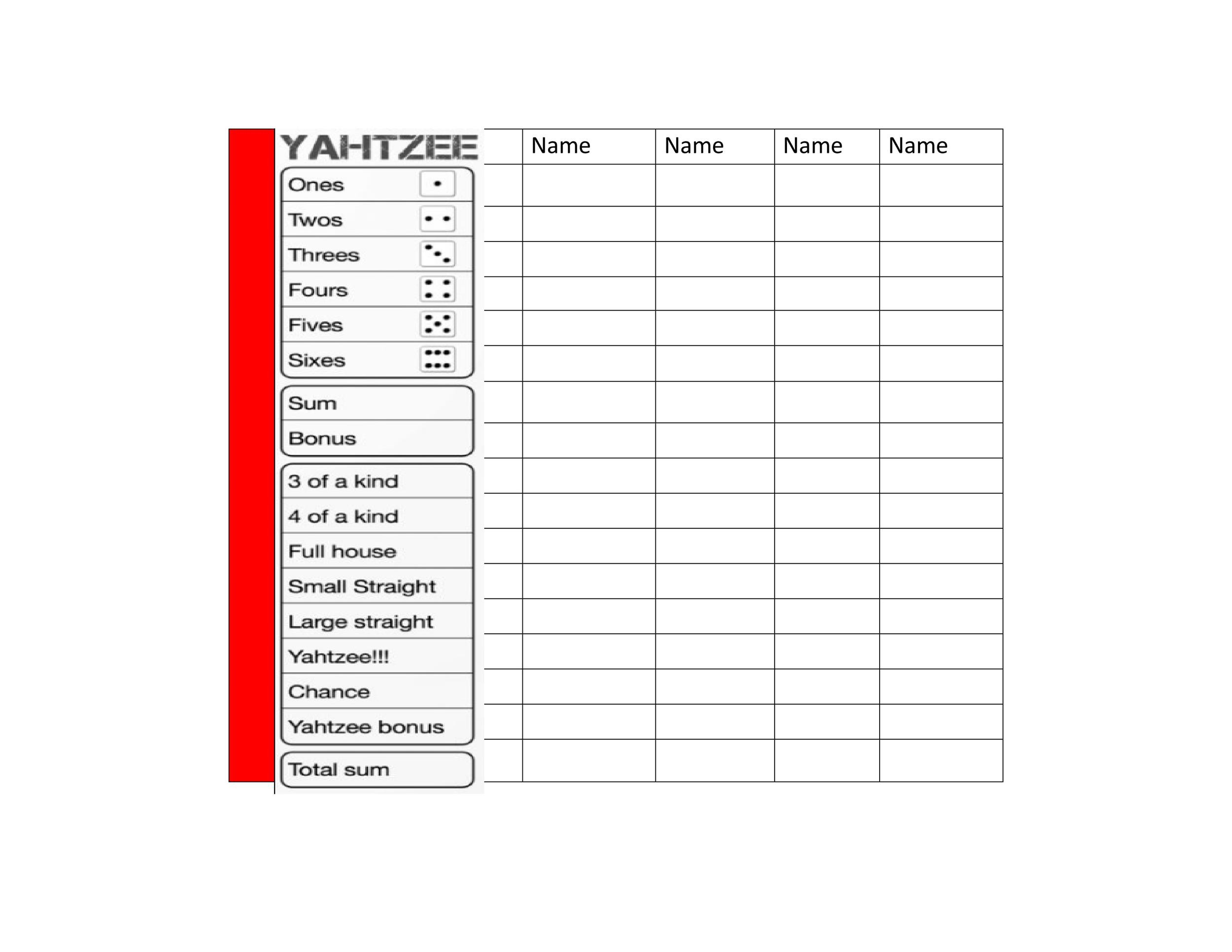 28 Printable Yahtzee Score Sheets  Cards (101 FREE) ᐅ Template Lab