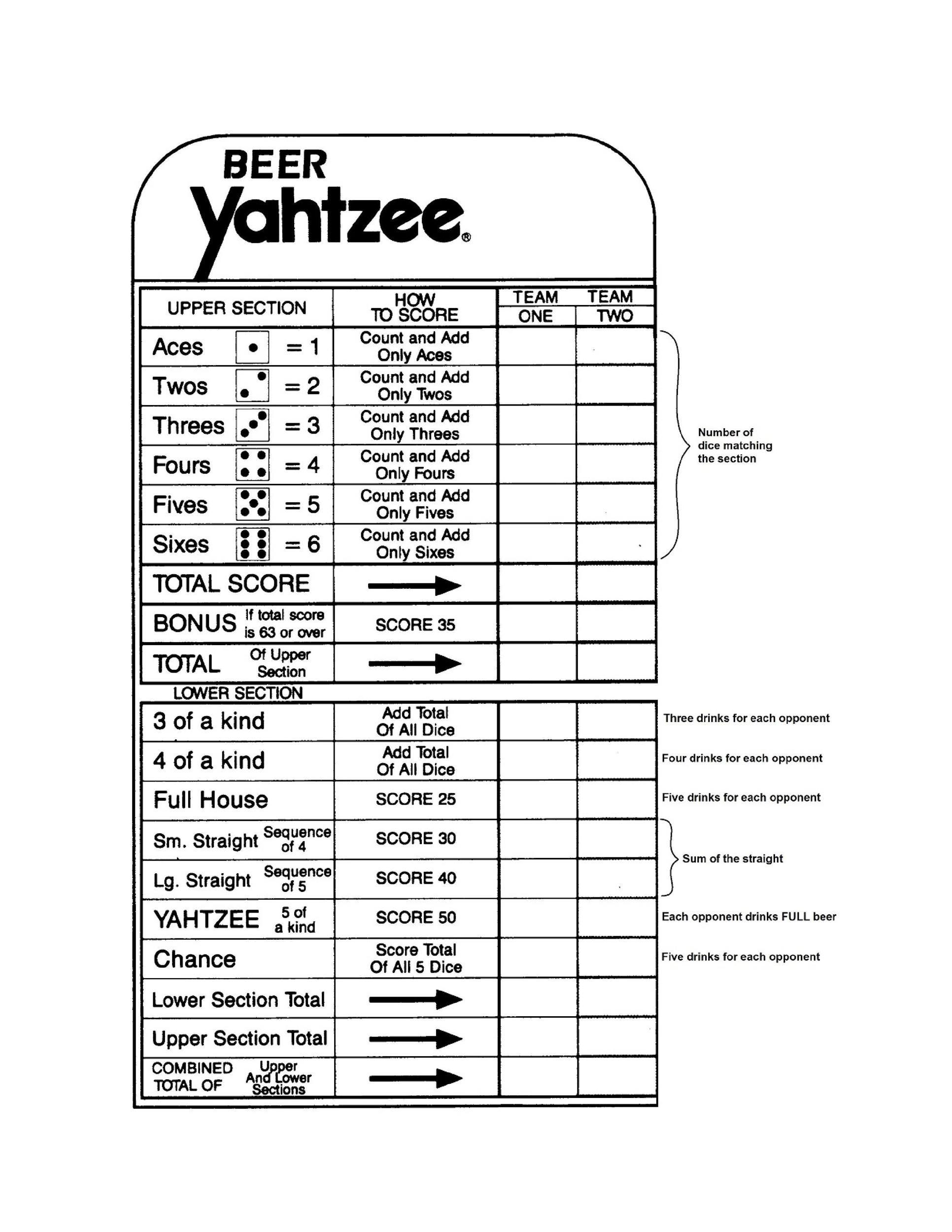 Enchanting Yahtzee Template Festooning - Examples Professional
