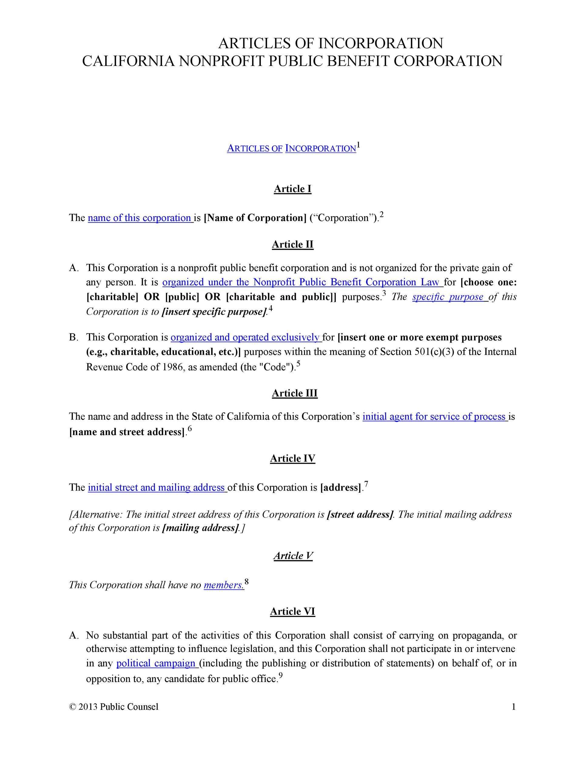 Articles of Incorporation - 47 Templates for Any State - Template Lab - free articles of incorporation template