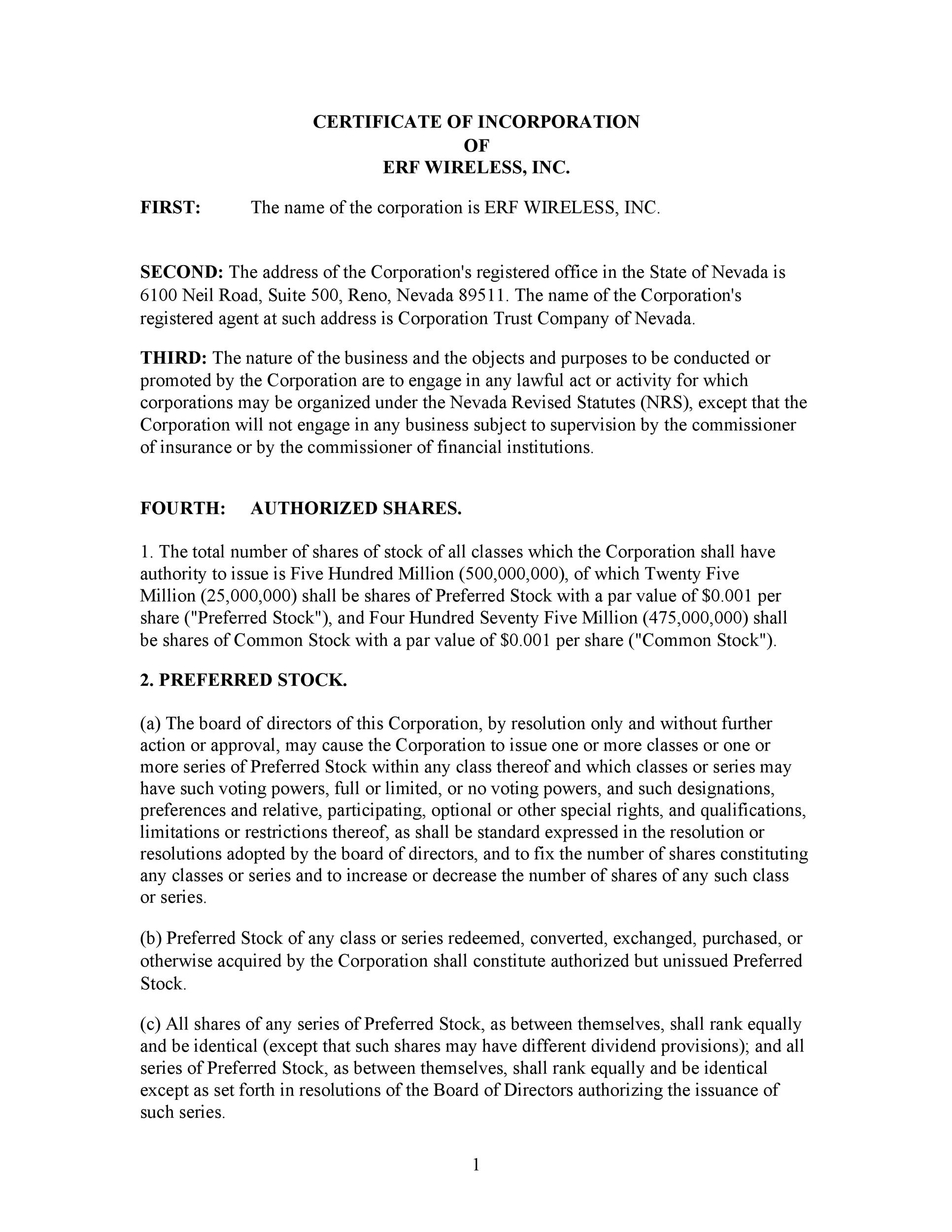 Articles Of Incorporation Template Colbro