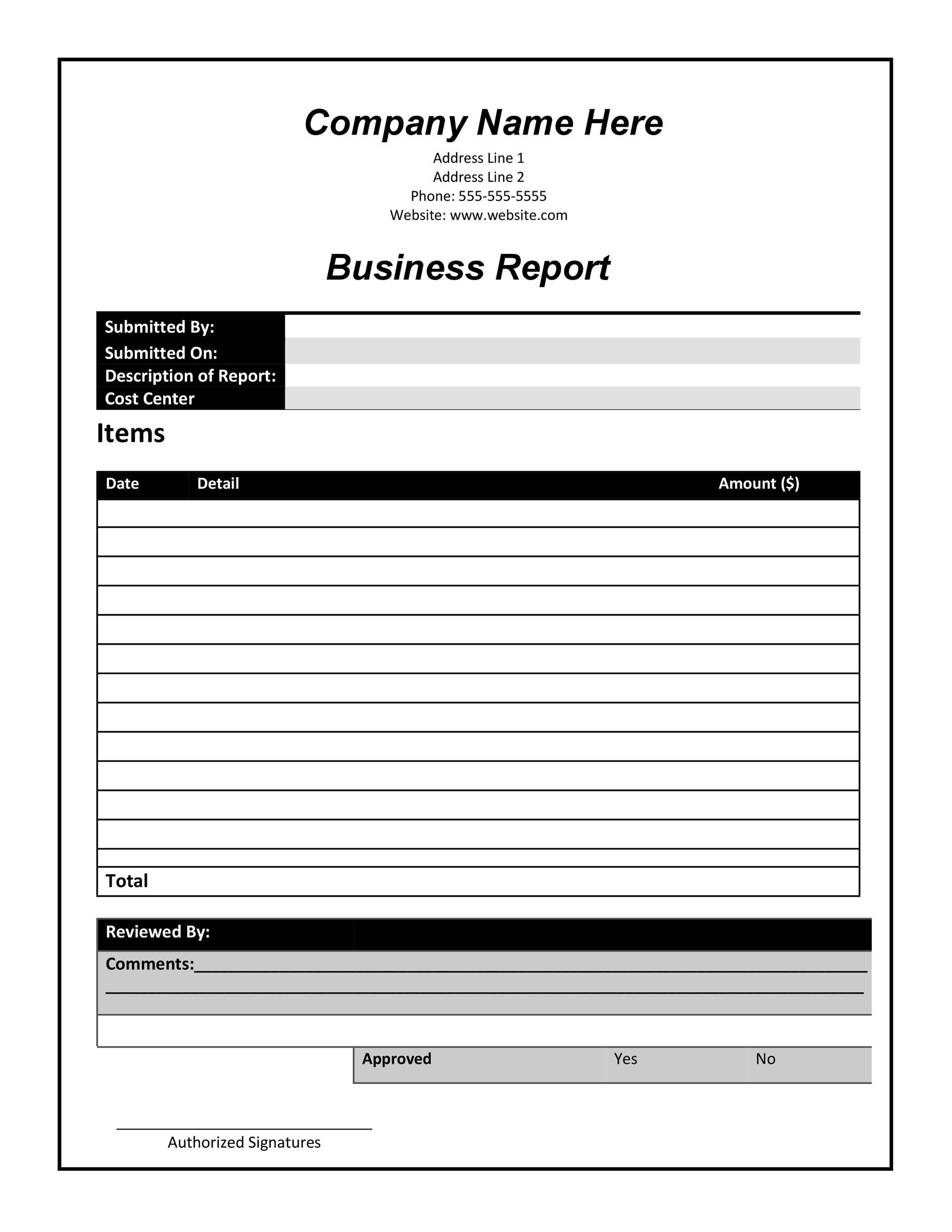 template for report