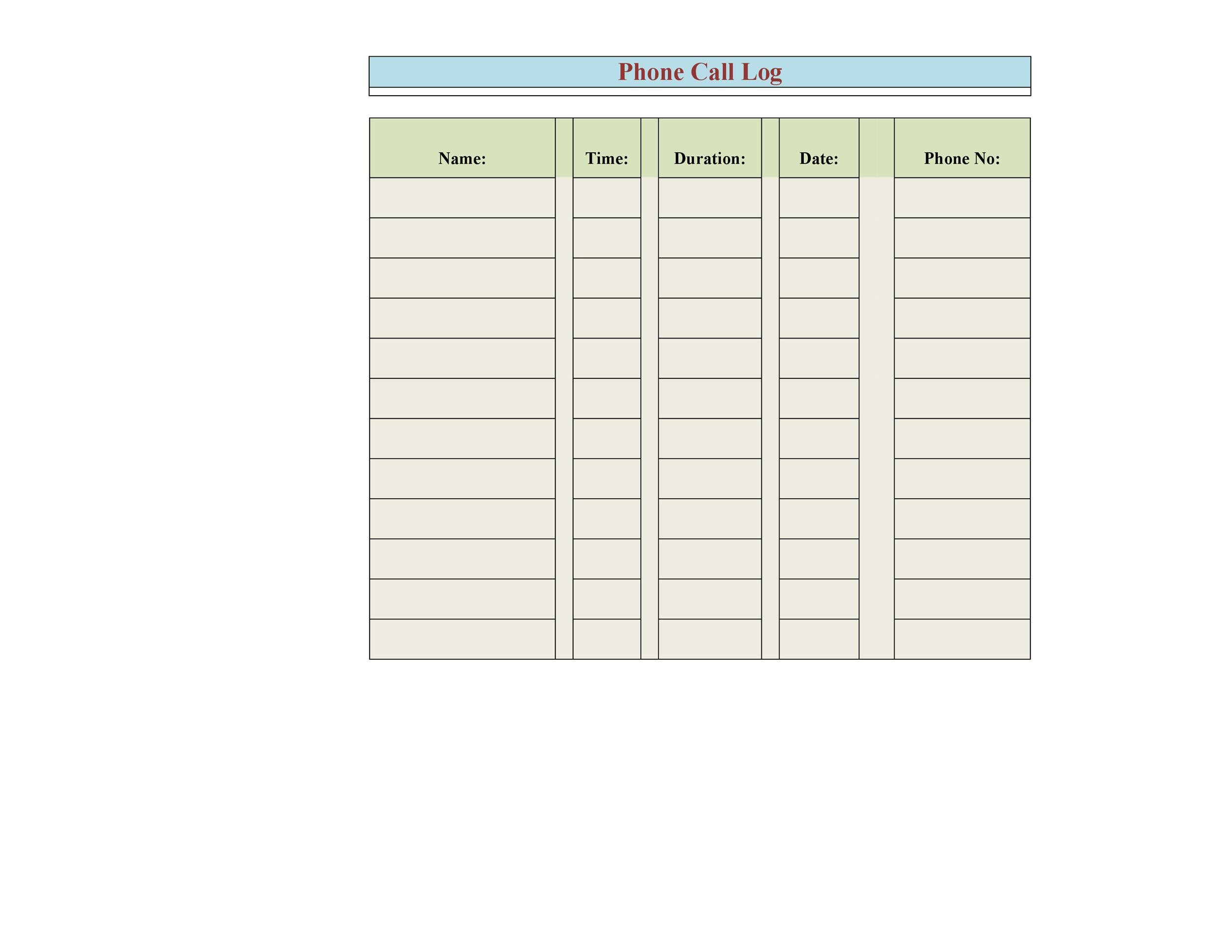 40+ Printable Call Log Templates in Microsoft Word and Excel - phone call log template