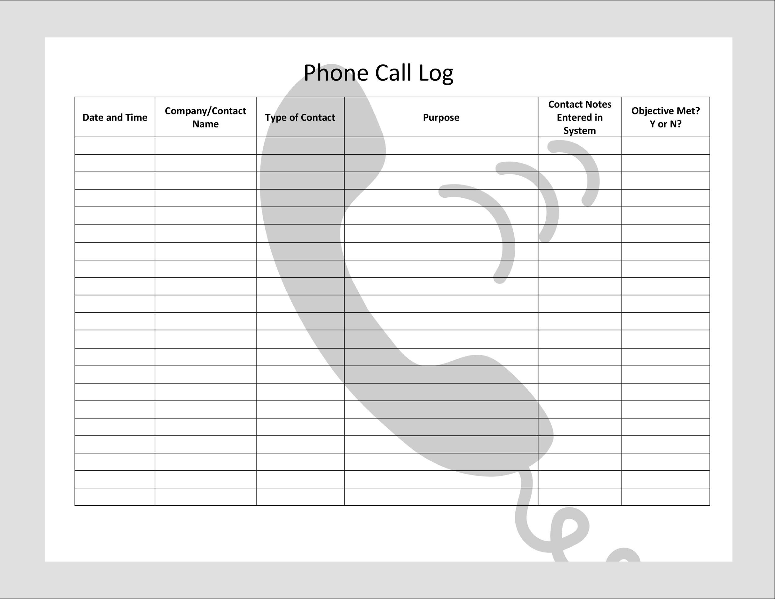 40+ Printable Call Log Templates in Microsoft Word and Excel - contact log template