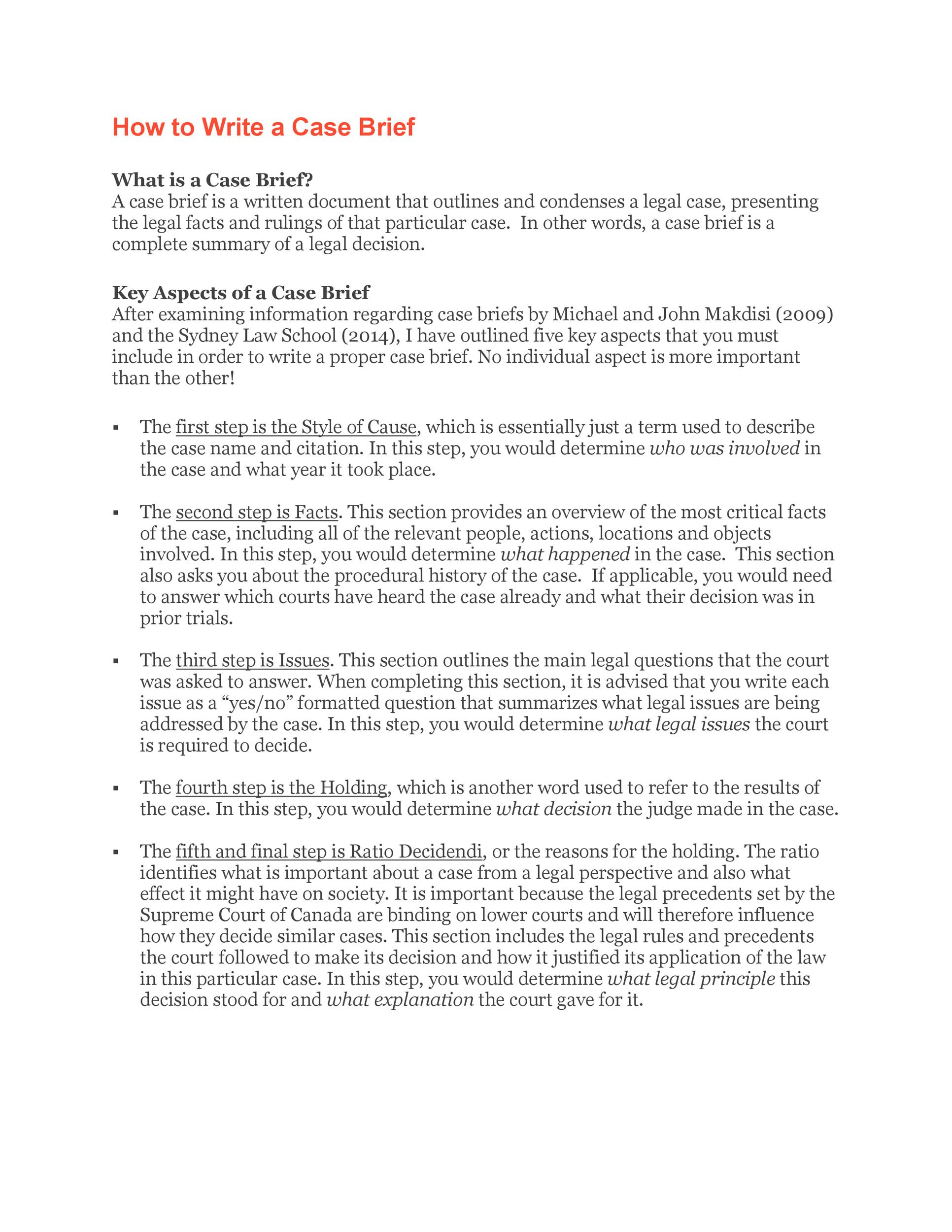 40 Case Brief Examples  Templates - Template Lab - case brief template word