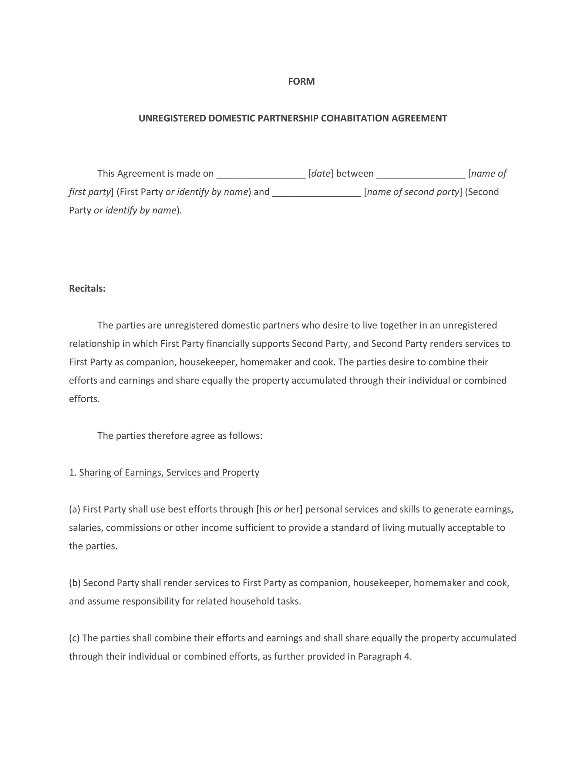 Cohabitation Agreement - 30+ Free Templates  Forms - Template Lab - housekeeper contract templates