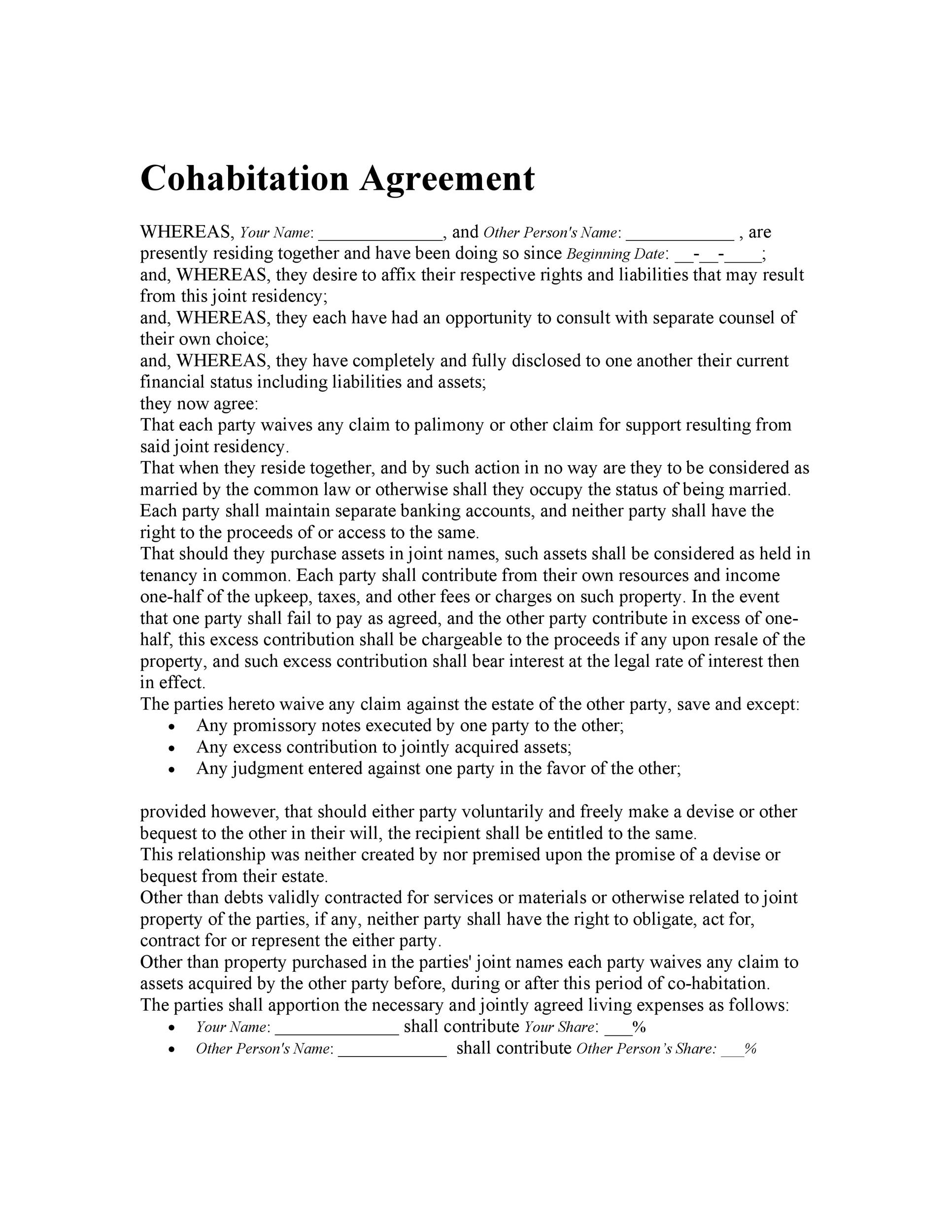 Cohabitation Agreement - 30+ Free Templates  Forms - Template Lab - cohabitation agreement template
