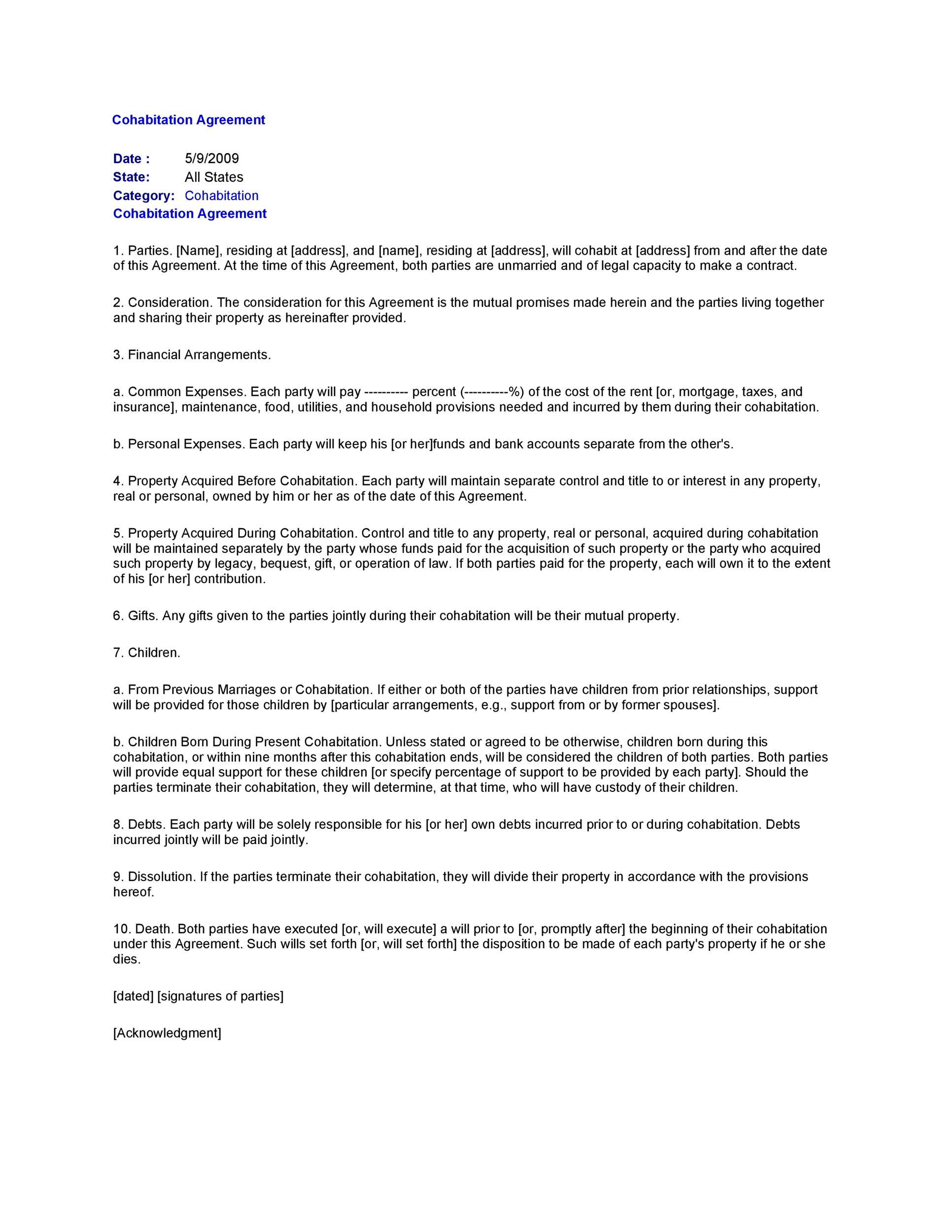 Cohabitation Agreement - 30+ Free Templates  Forms - Template Lab - rent to own house contract