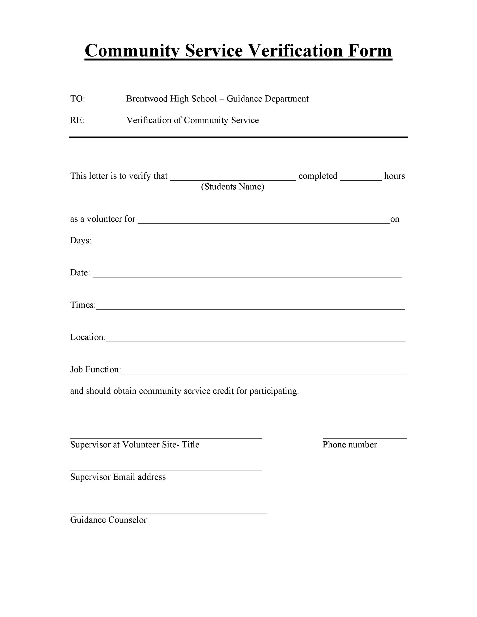 community service paper print out for school