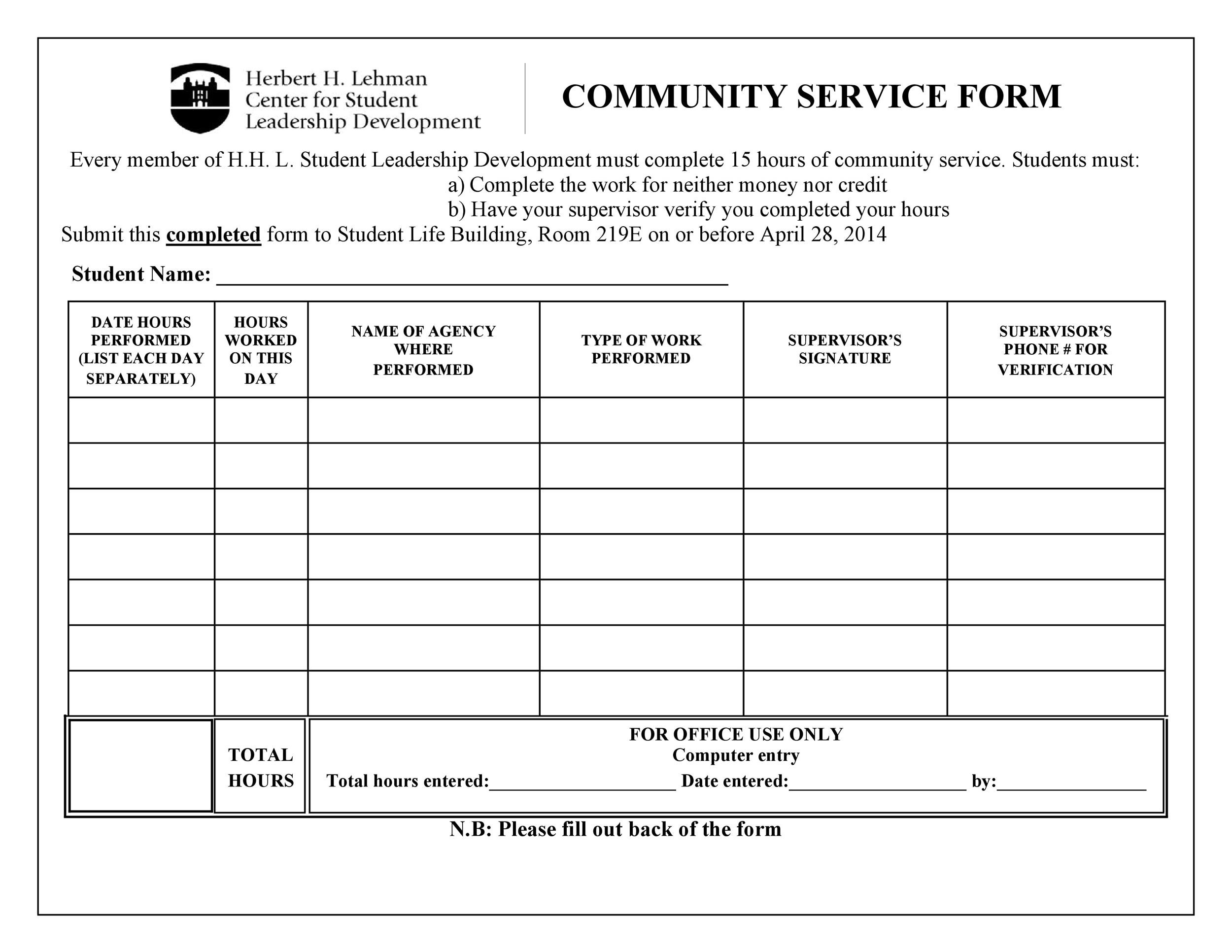 Community Service Letter - 40+ Templates Completion, Verification - work hour sheet