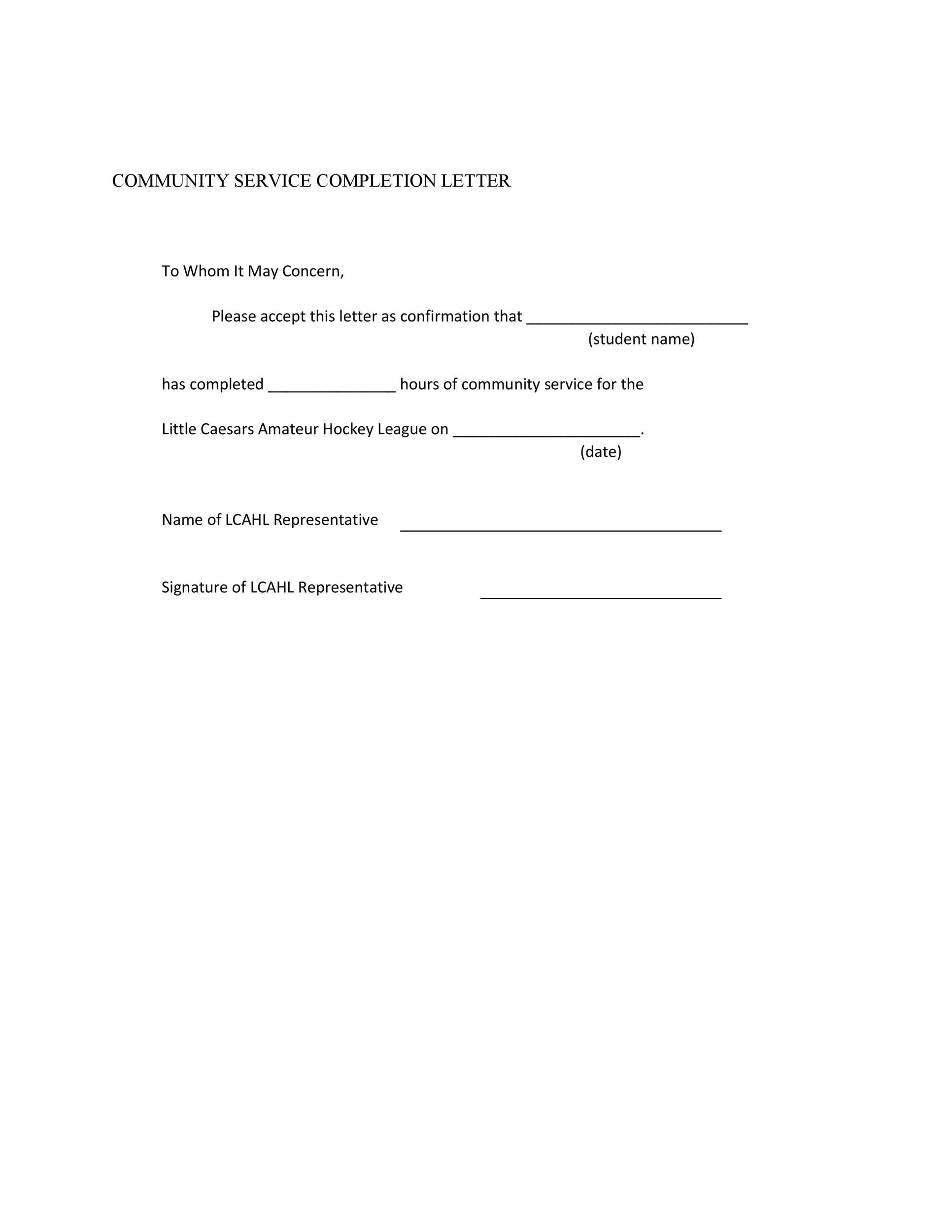 Community Service Letter - 40+ Templates Completion, Verification