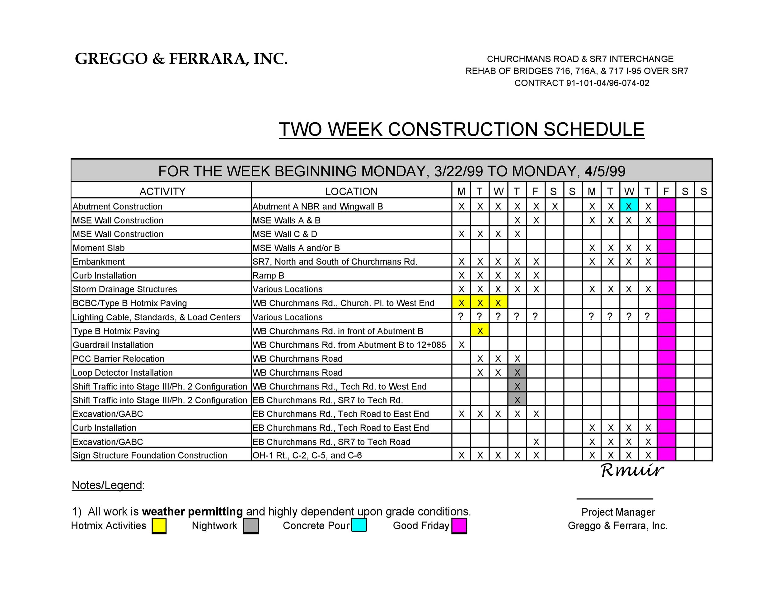 21 Construction Schedule Templates in Word  Excel ᐅ Template Lab