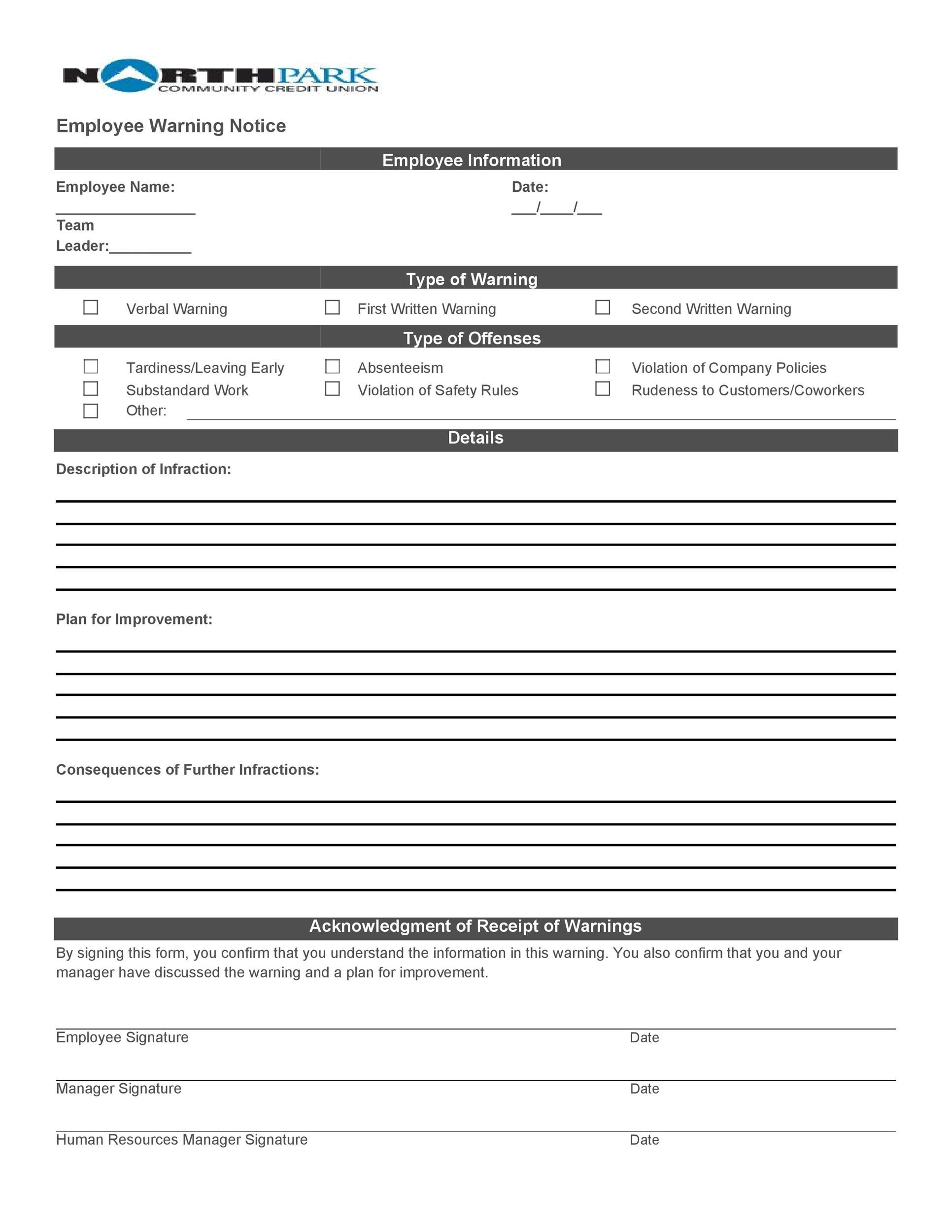 Employee Warning Notice - Download 56 Free Templates  Forms