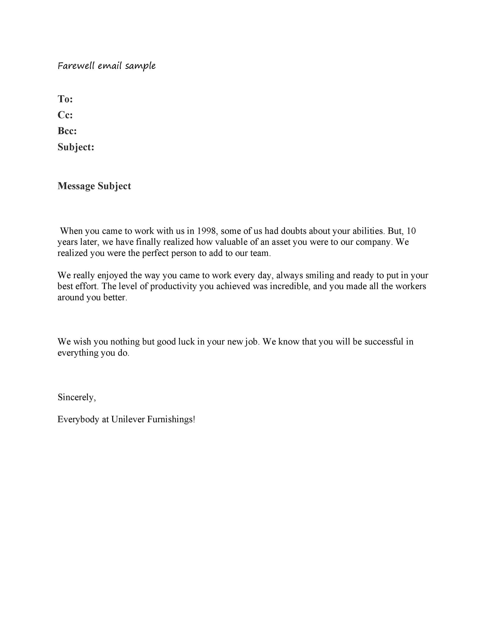 40+ Farewell Email Templates to Coworkers ᐅ Template Lab