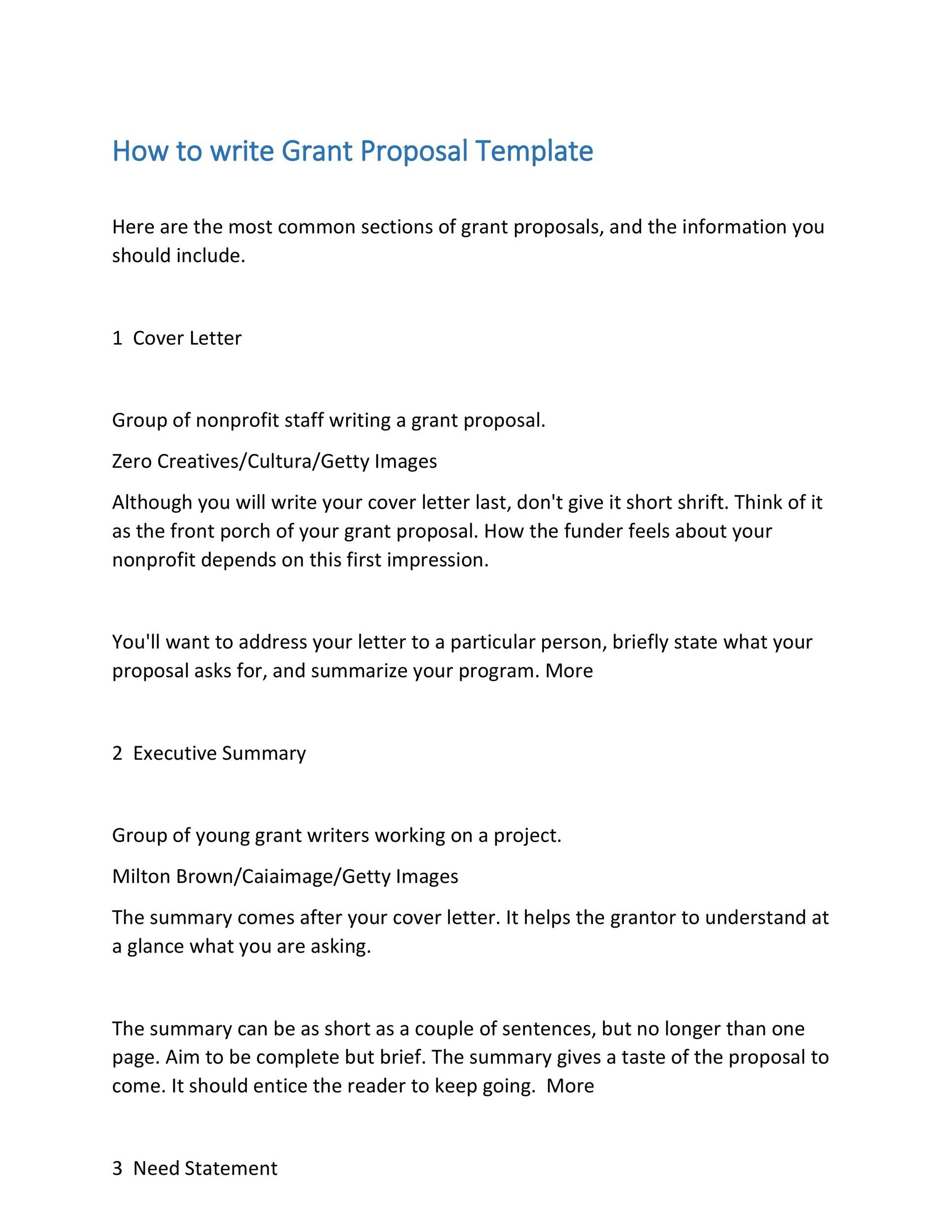 sample of grant writing