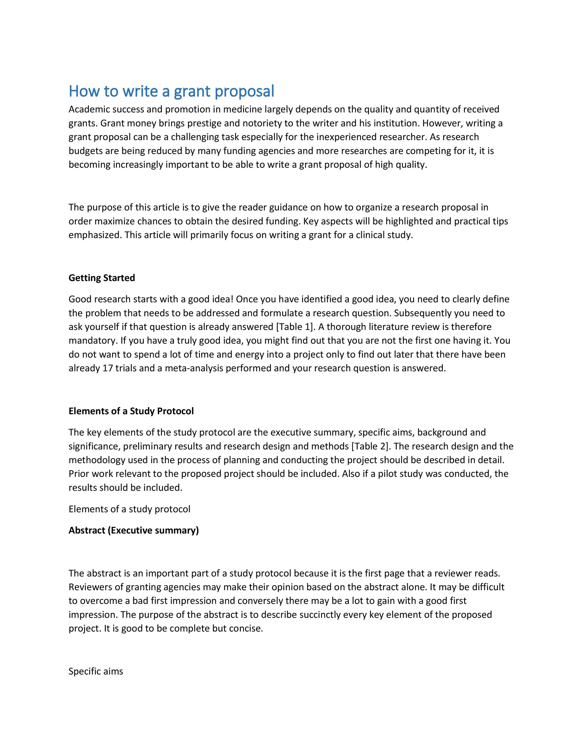 40+ Grant Proposal Templates NSF, Non-Profit, Research - Template Lab - executive summary proposal template
