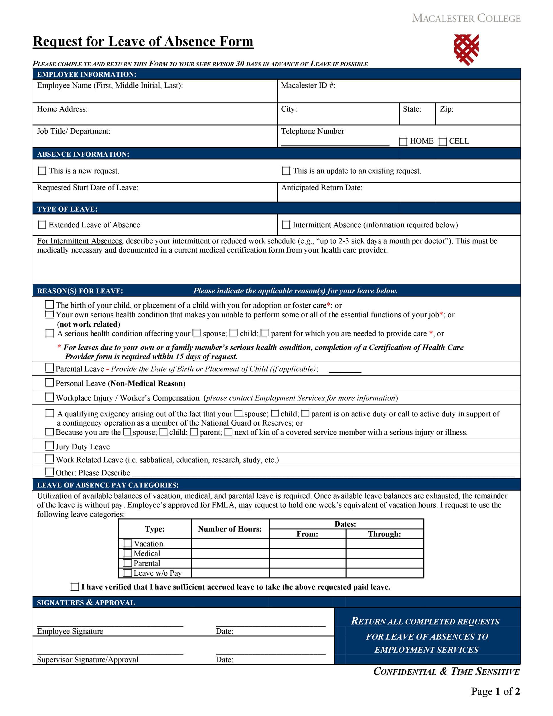 employee absence form - Josemulinohouse - employee update form