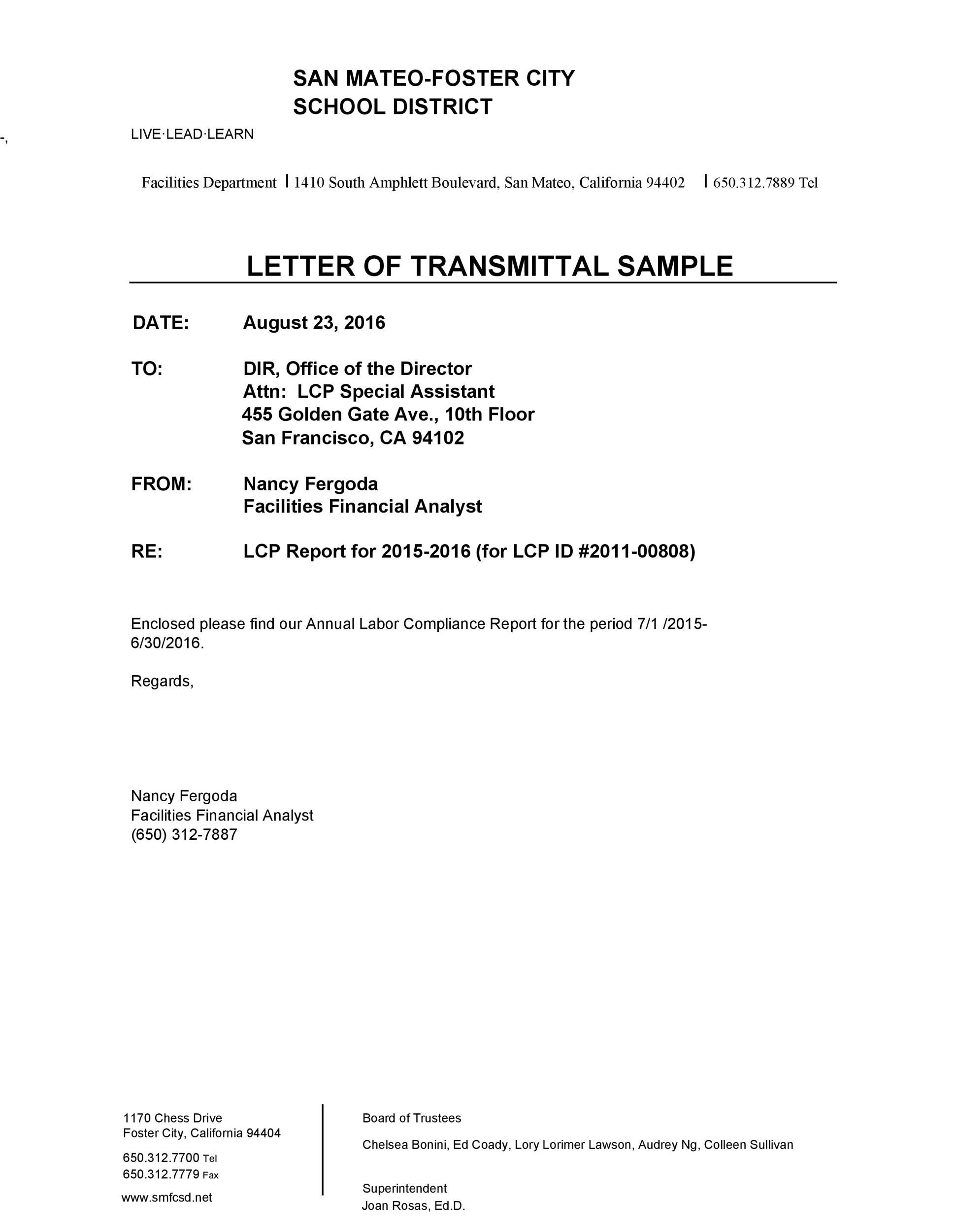 Letter of Transmittal - 40+ Great Examples  Templates - Template Lab - example of transmittal letter