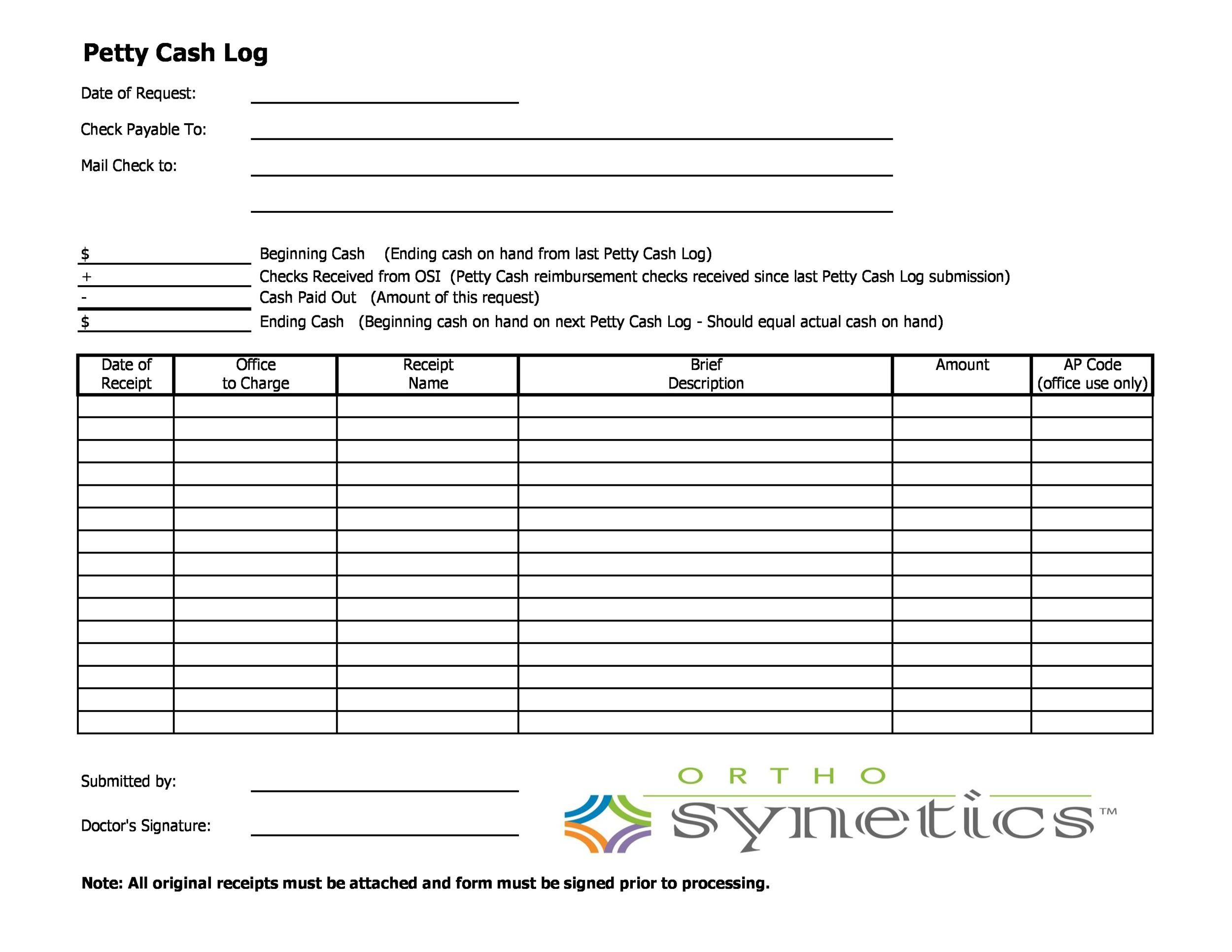 40 Petty Cash Log Templates \ Forms Excel, PDF, Word - Template Lab - petty cash log template
