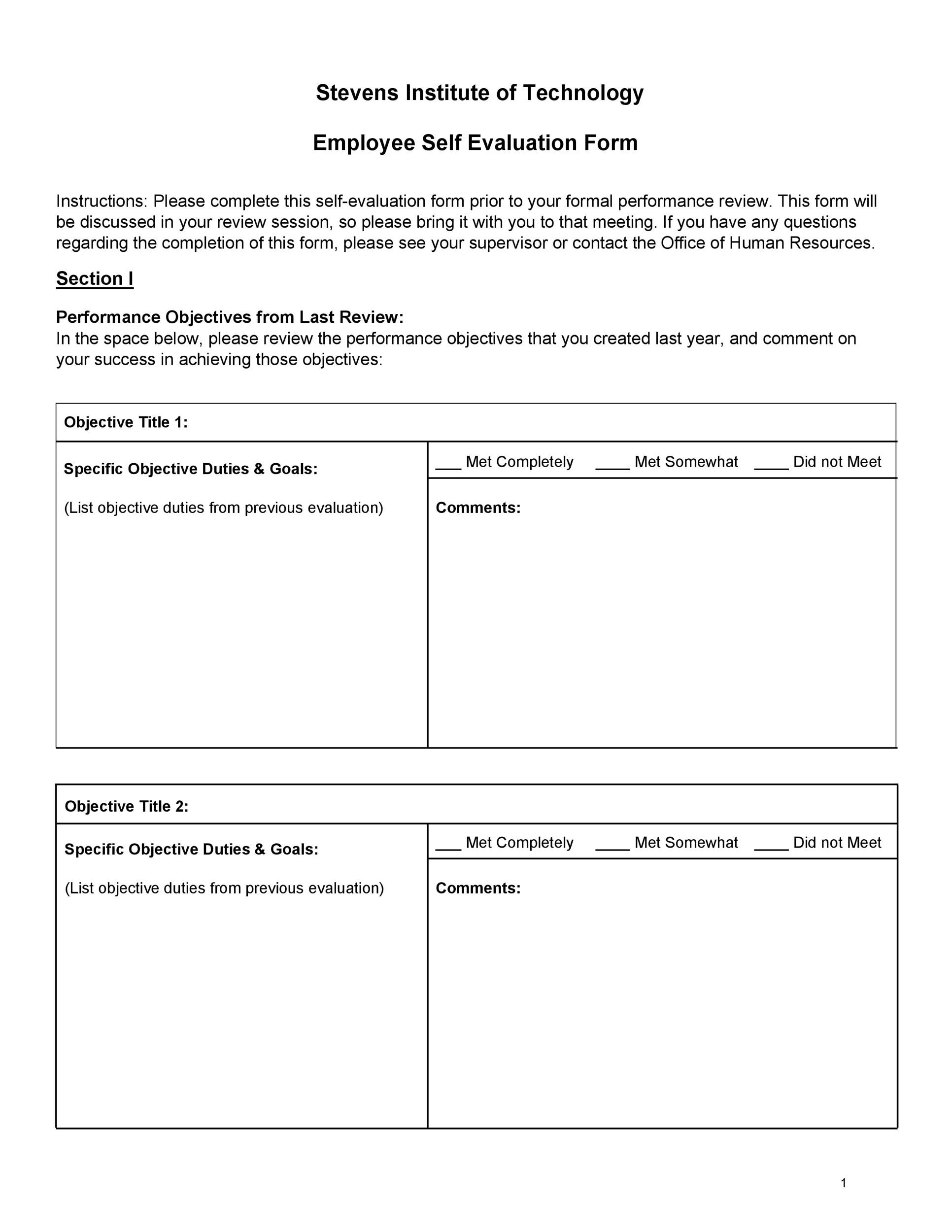50+ Self Evaluation Examples, Forms  Questions - Template Lab