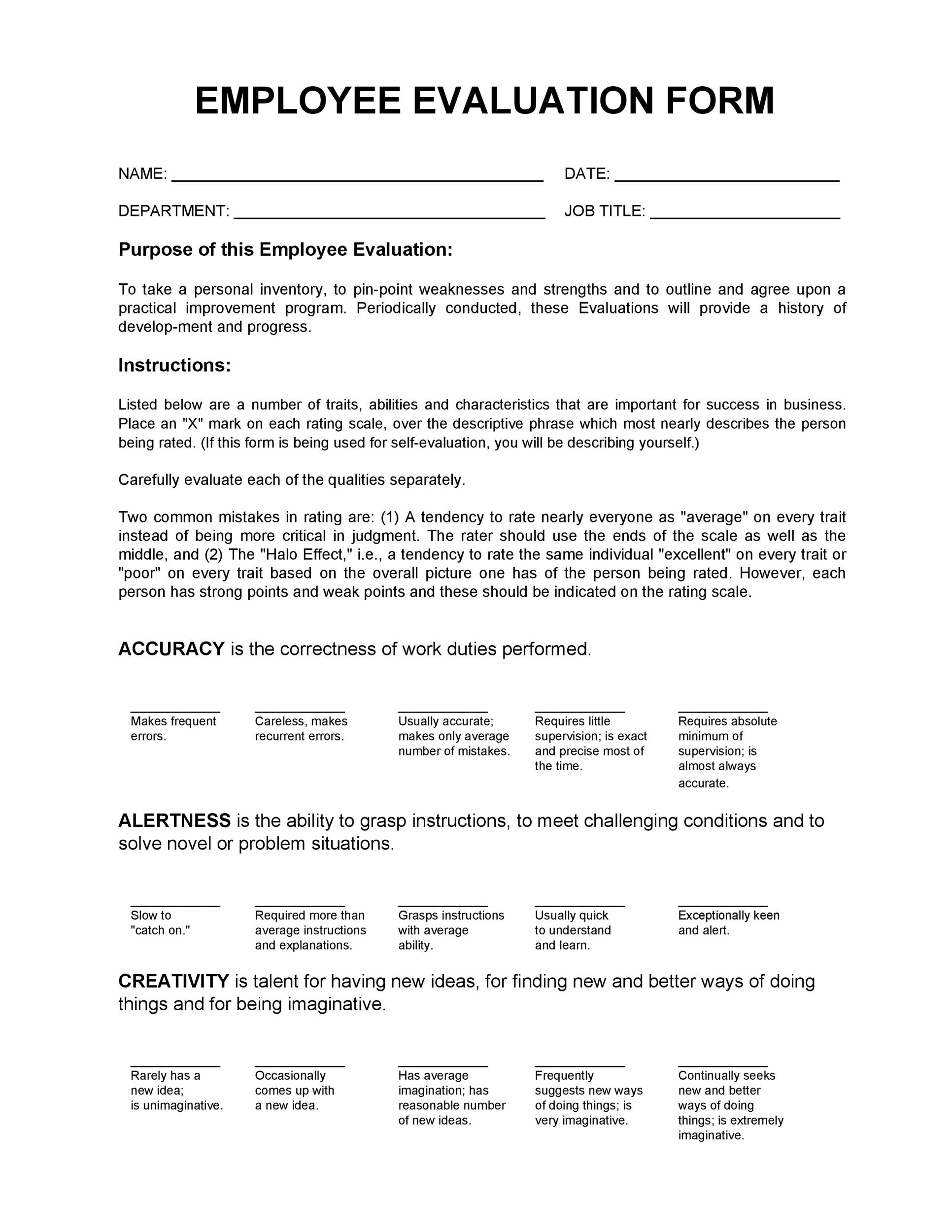 50+ Self Evaluation Examples, Forms  Questions - Template Lab - employee self evaluation form