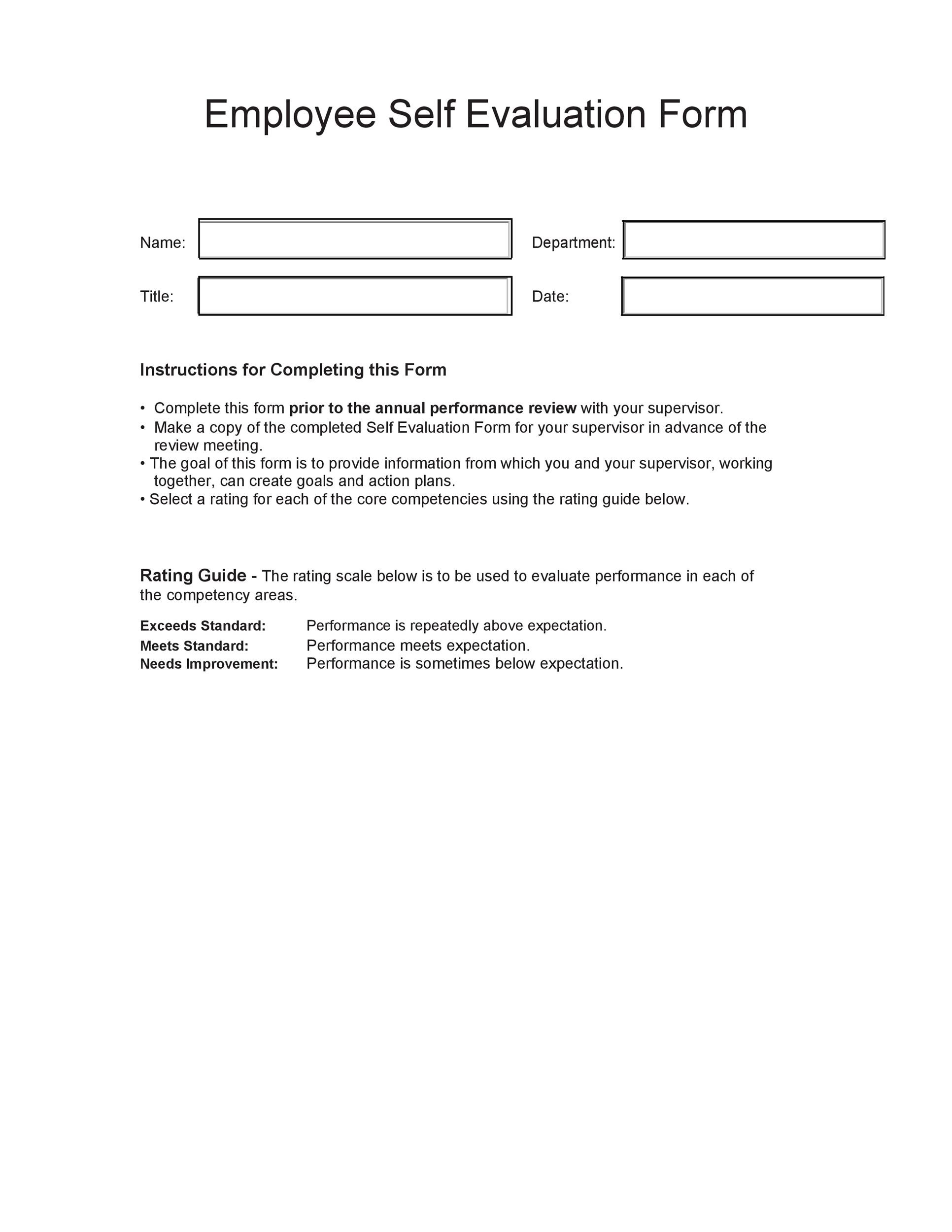50+ Self Evaluation Examples, Forms  Questions - Template Lab - Meeting Evaluation Form