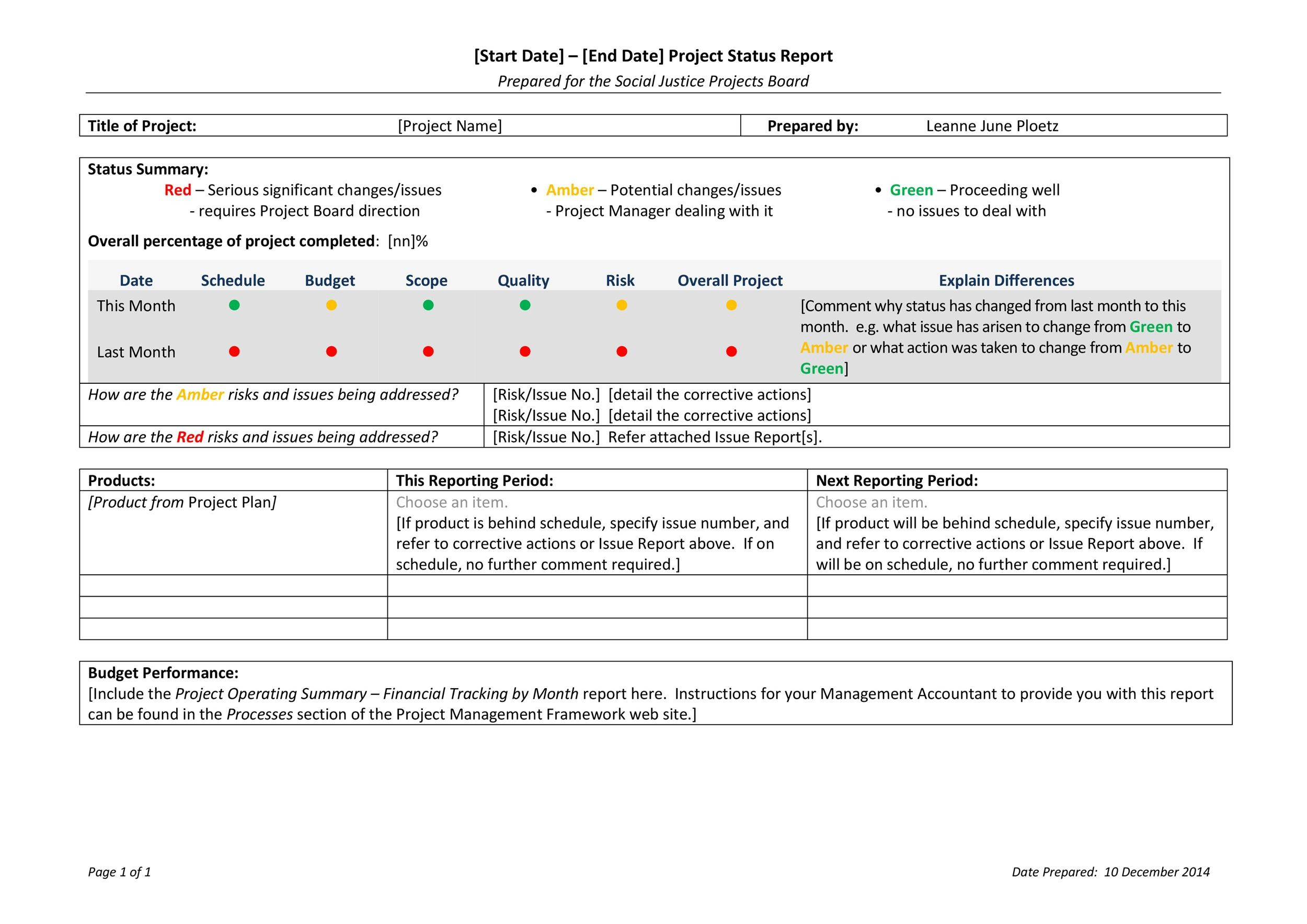 40+ Project Status Report Templates Word, Excel, PPT - Template Lab - status report template