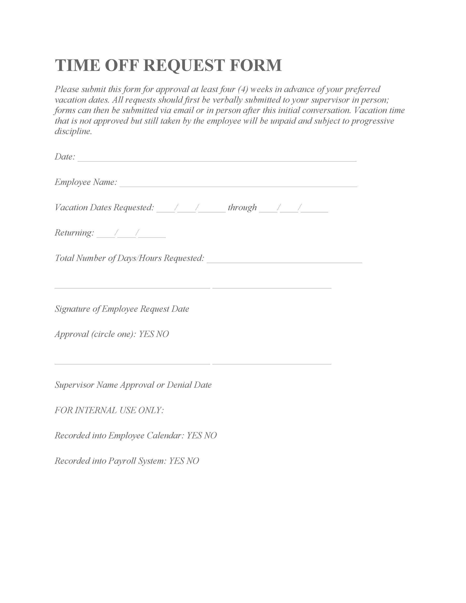 40+ Effective Time Off Request Forms  Templates - Template Lab - vacation request form