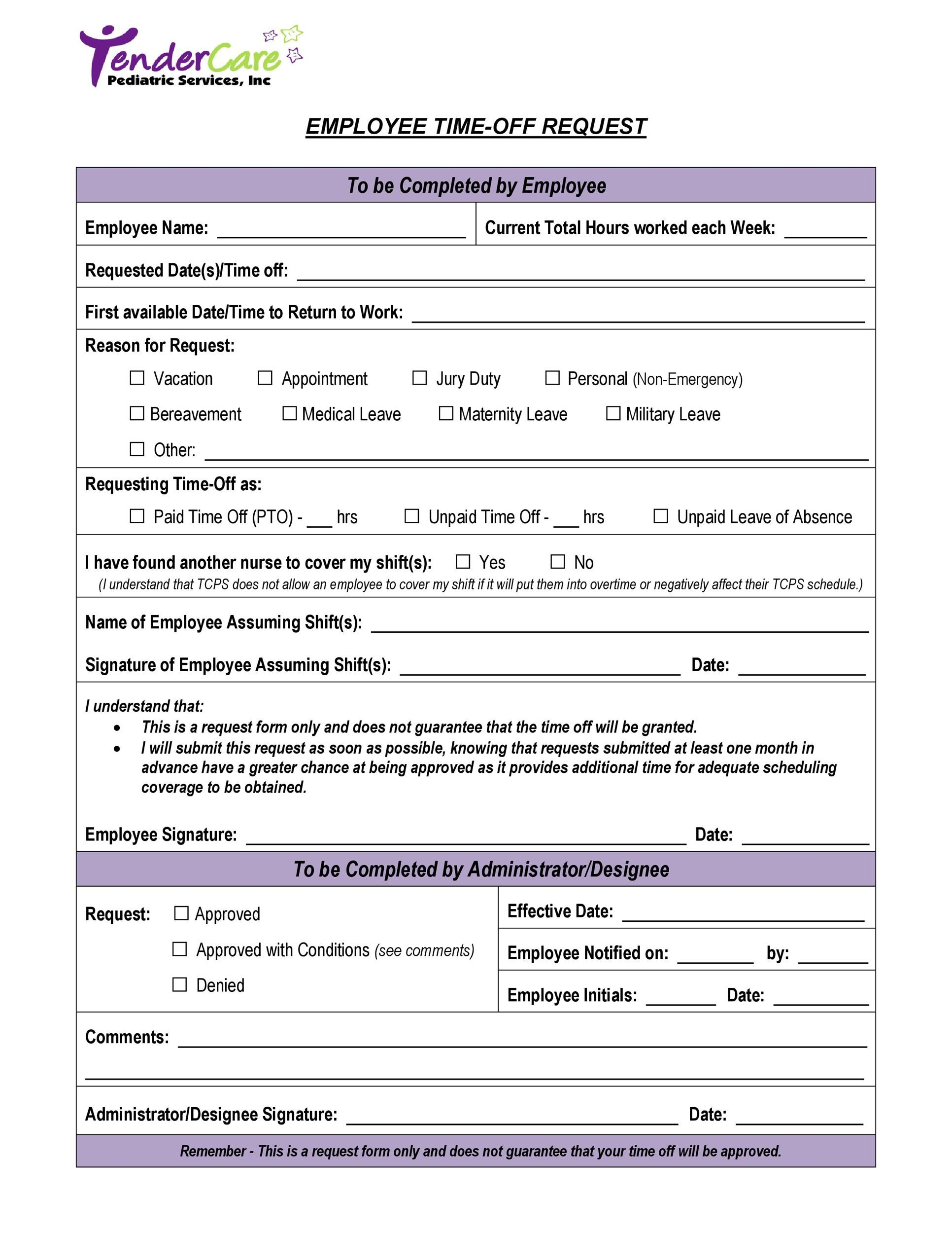 40+ Effective Time Off Request Forms  Templates - Template Lab - time off request form sample