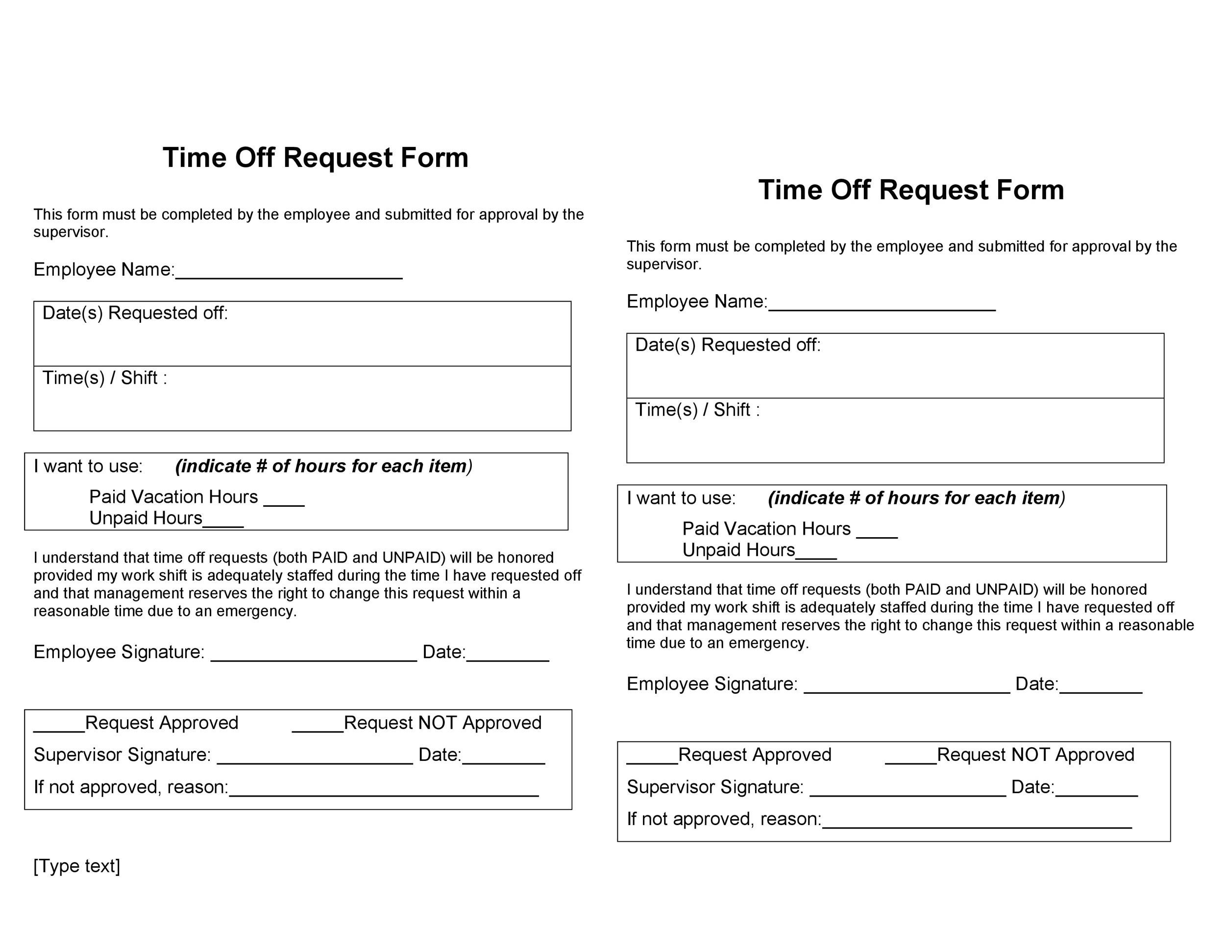 Paid Time Off Form Template Sample Time Off Request Forms Sheet40+