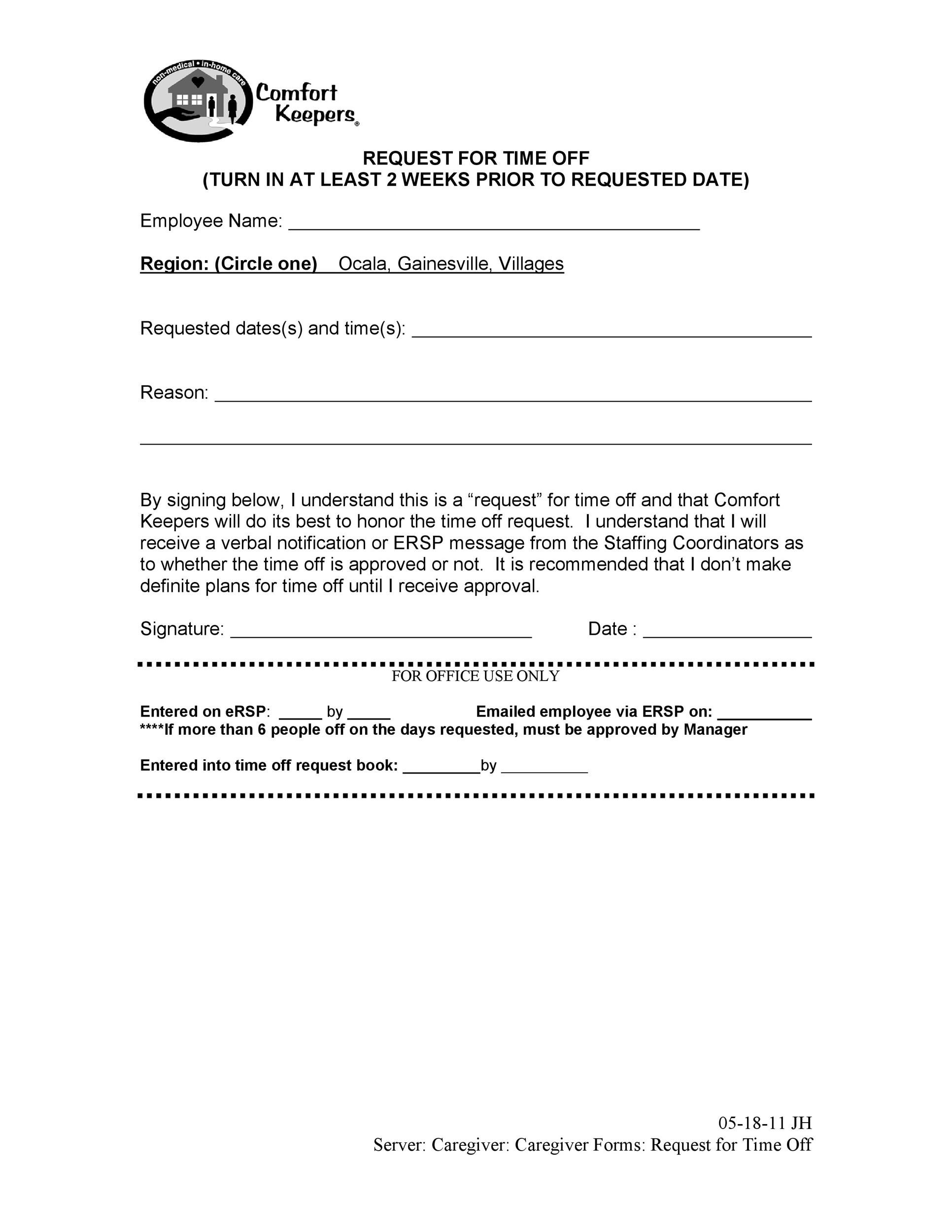time off request form template 09 - Template Lab - time off request forms