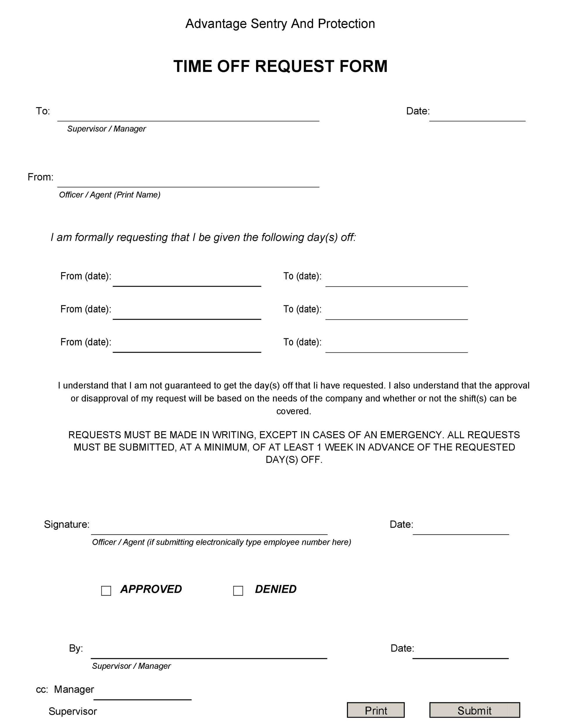 40+ Effective Time Off Request Forms  Templates - Template Lab - request for day off template