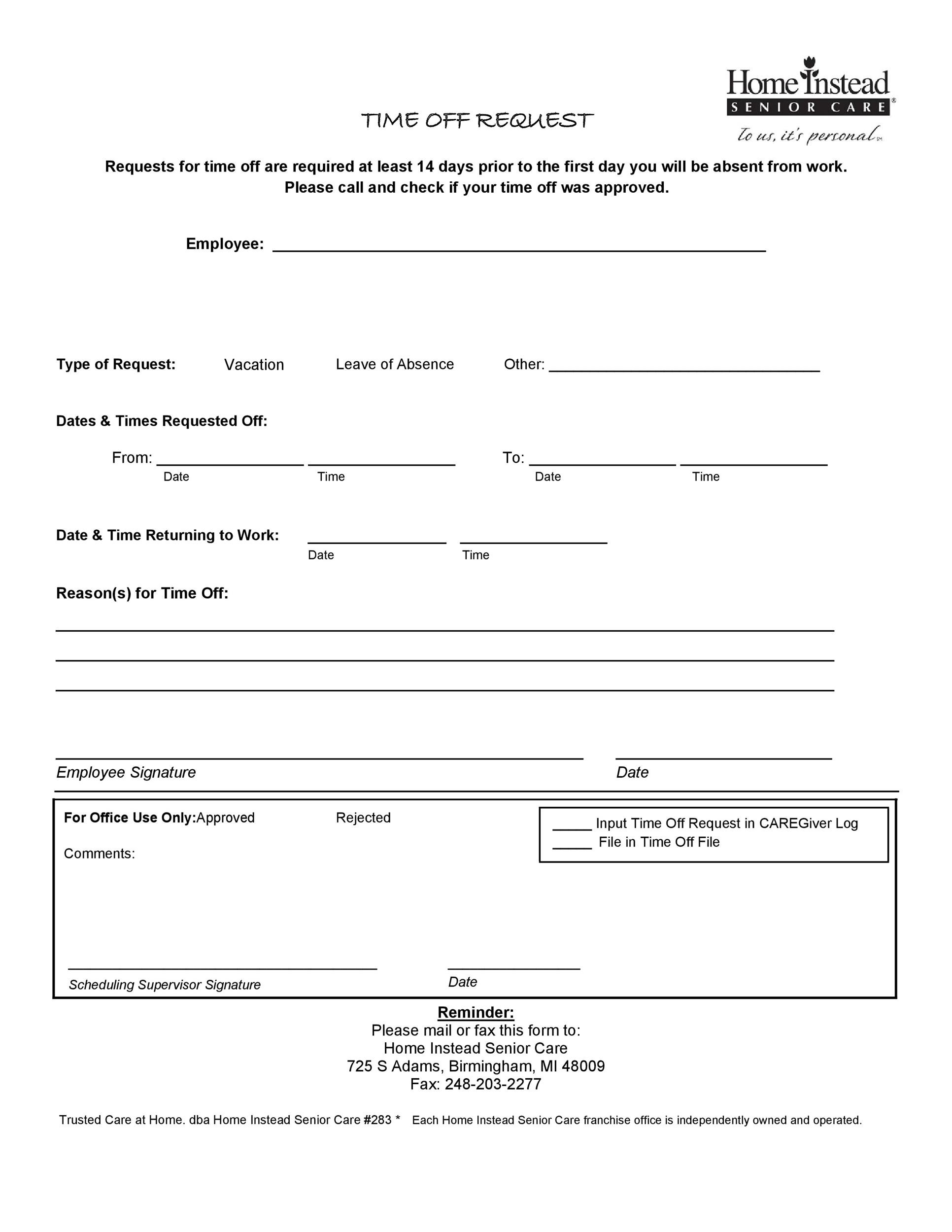 40+ Effective Time Off Request Forms  Templates - Template Lab - request for time off form