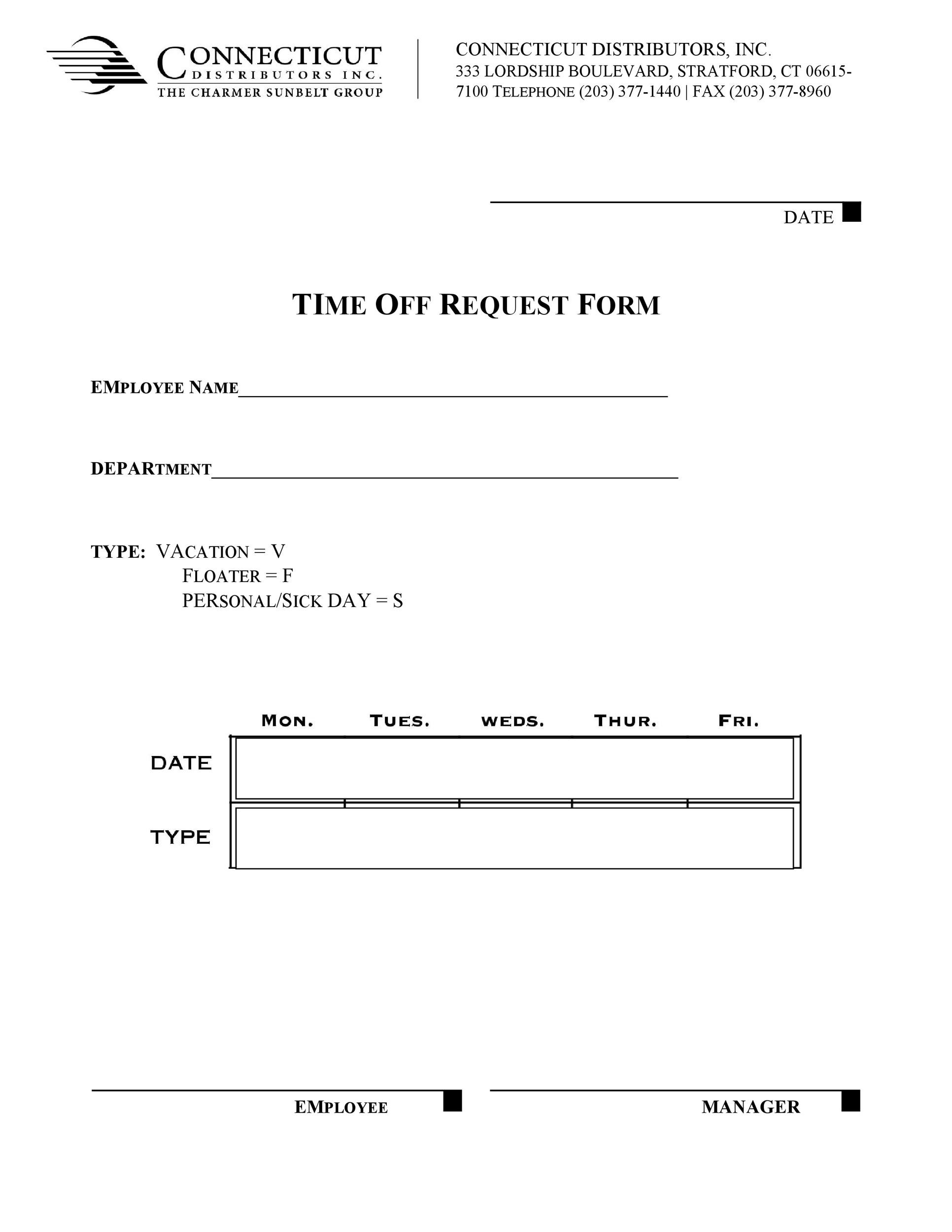 request for time off form efficiencyexperts - request for time off form