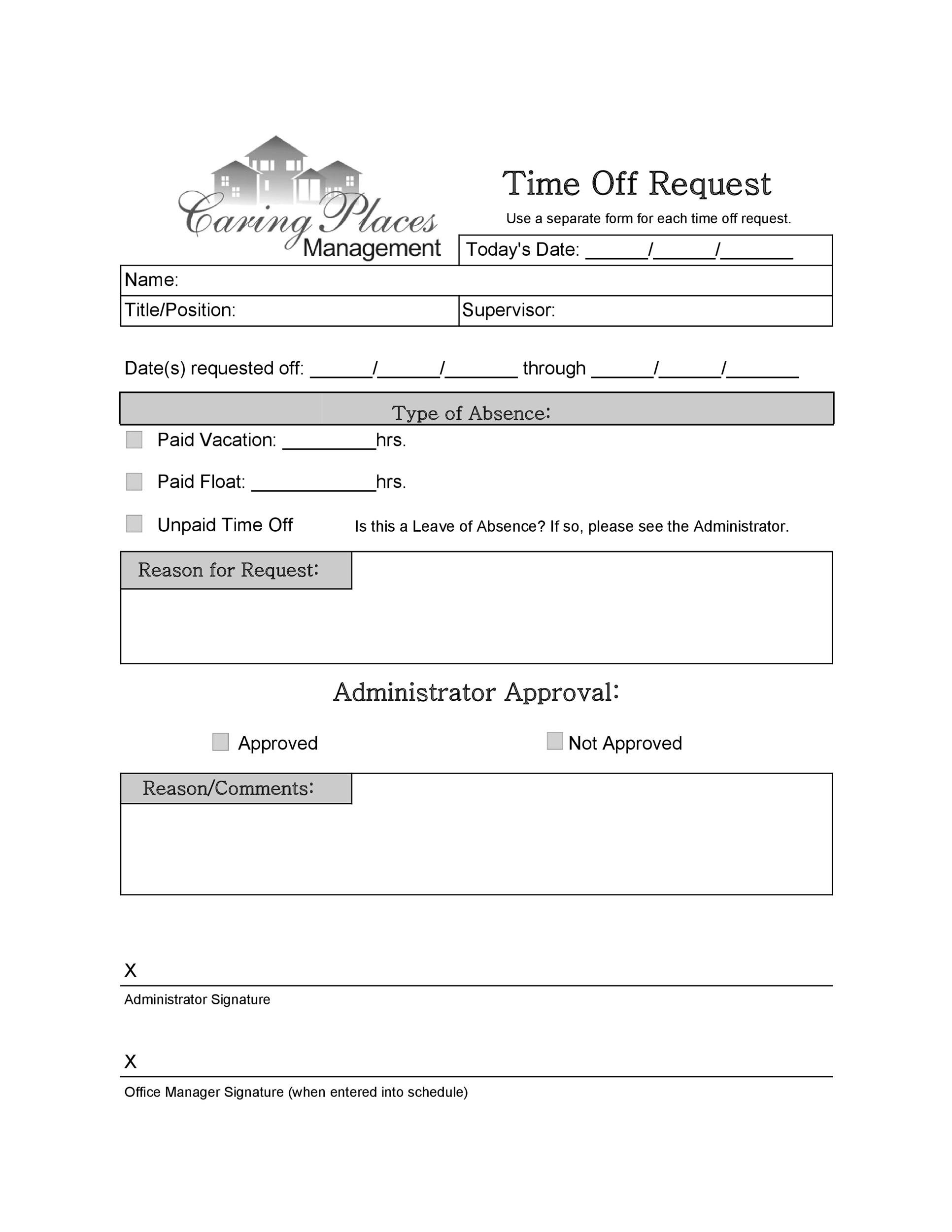 Sample Time Off Request Form   ExeforeInfo