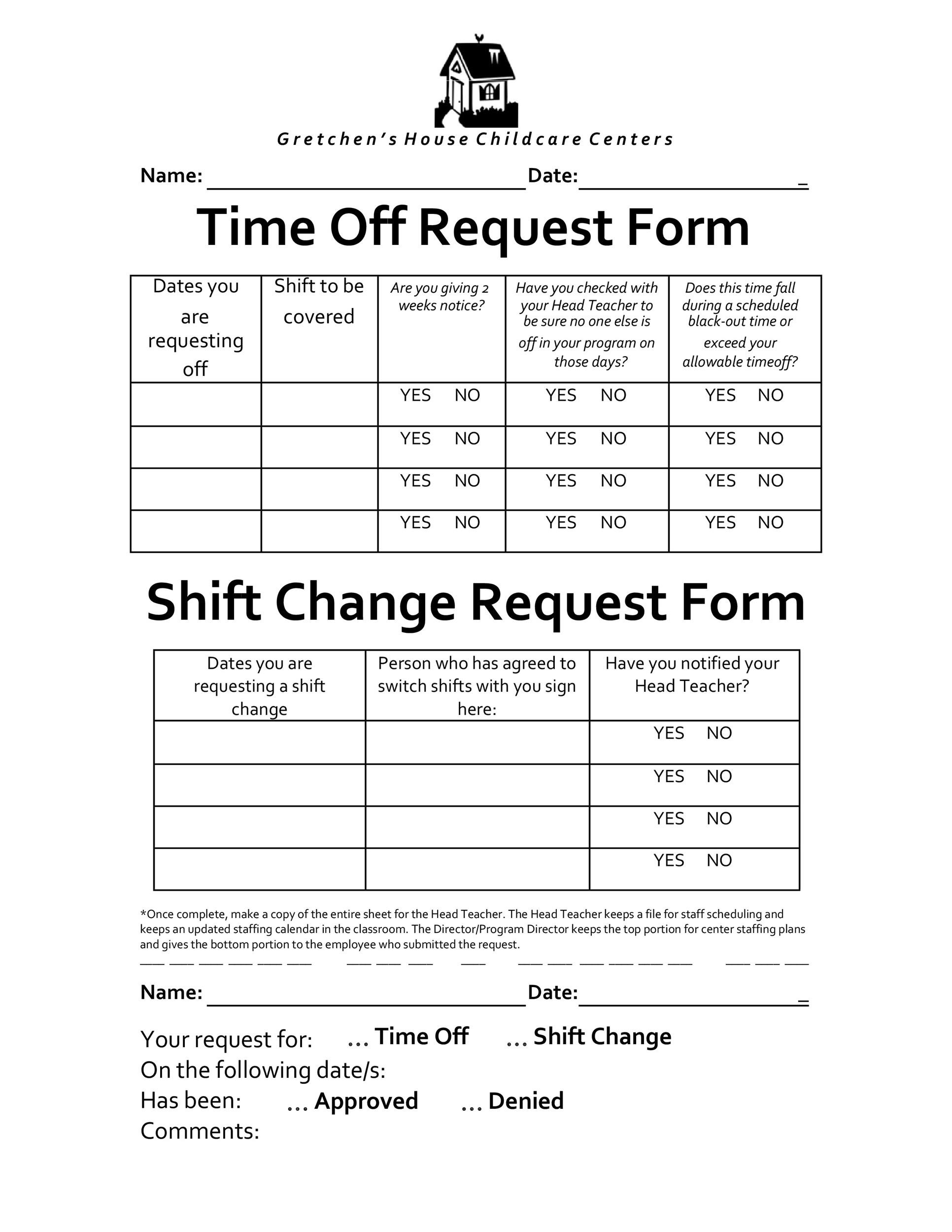 time off forms - Romeolandinez - request for time off form
