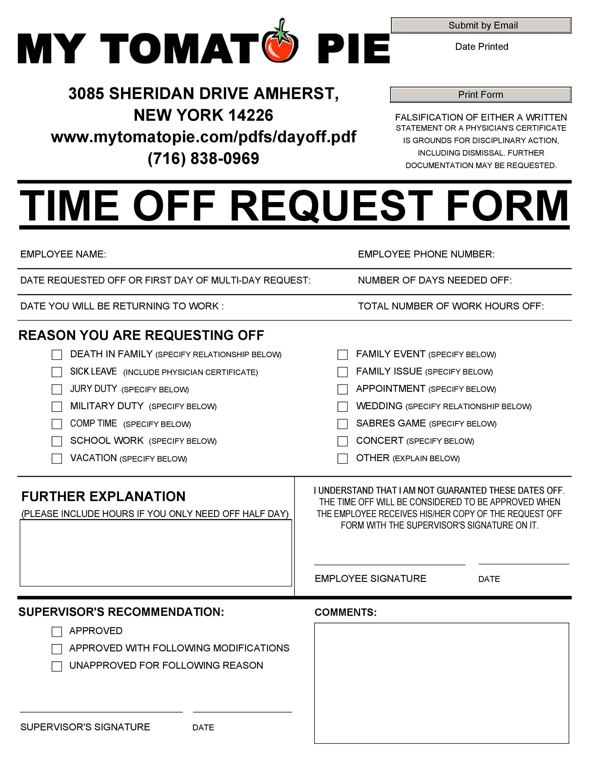 40+ Effective Time Off Request Forms  Templates - Template Lab