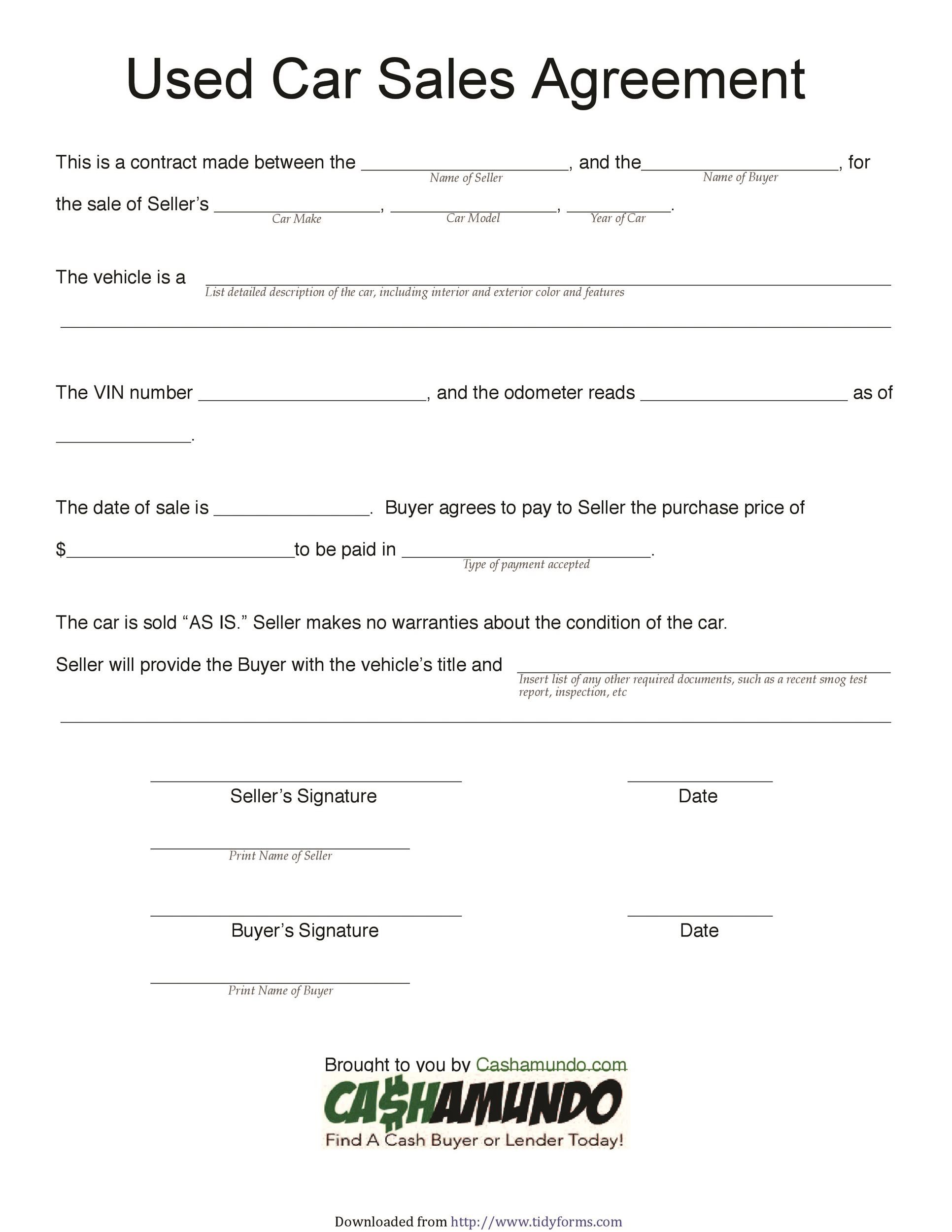sample car purchase agreement