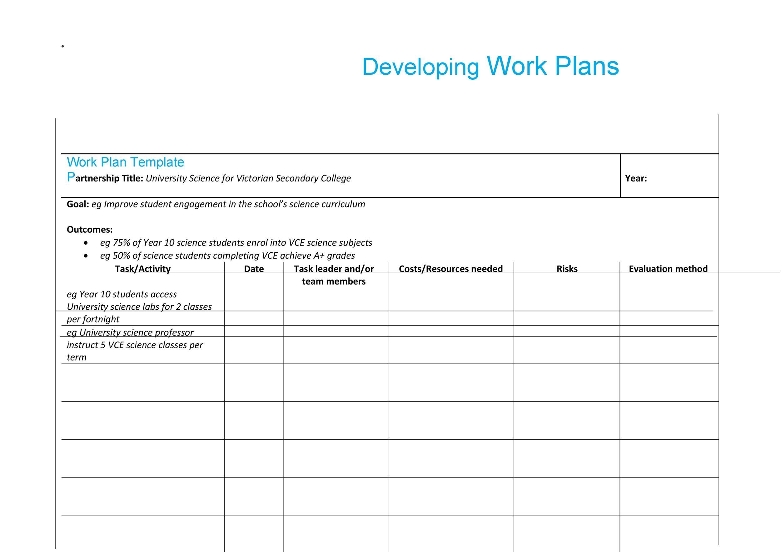 Work Plan - 40 Great Templates  Samples (Excel / Word) - Template Lab