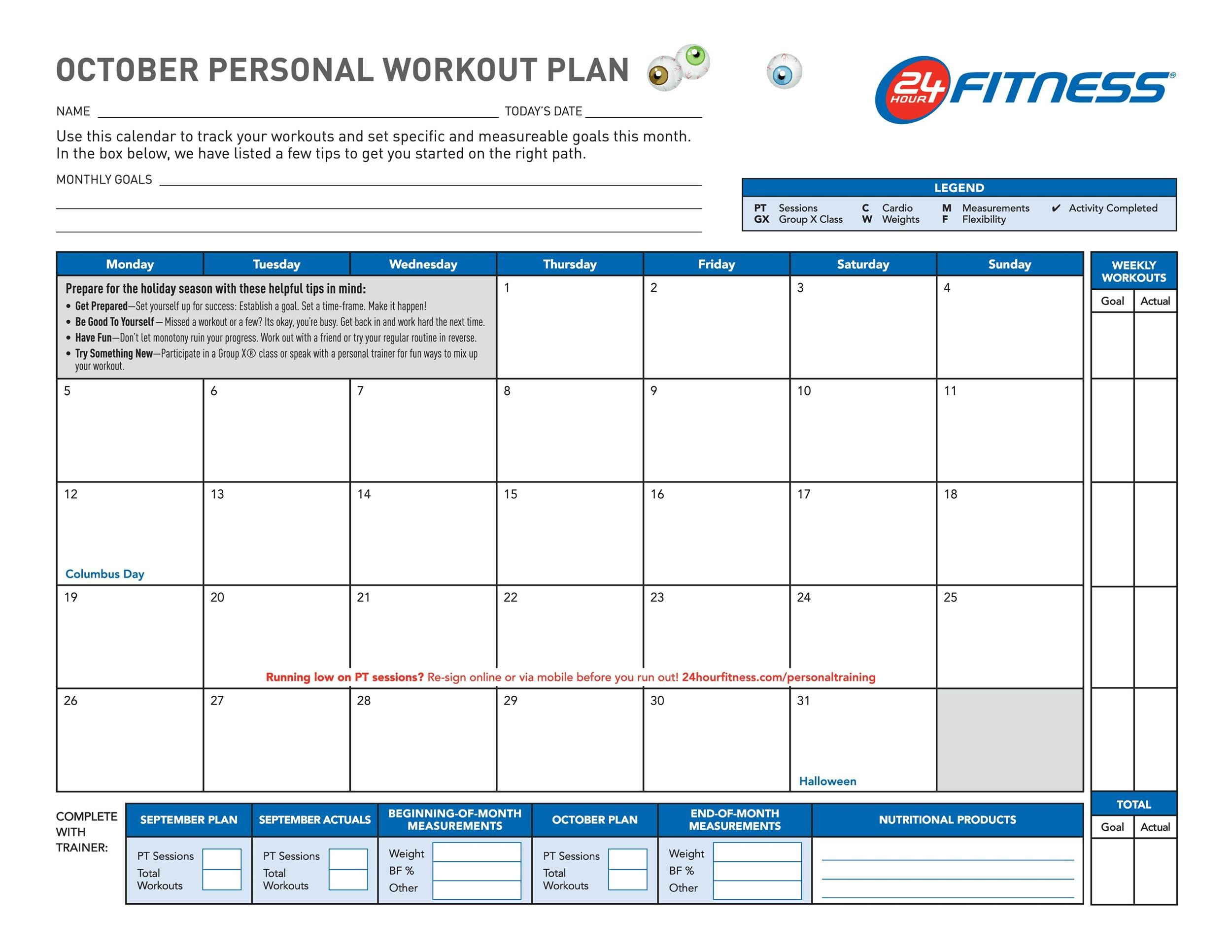 40+ Effective Workout Log  Calendar Templates ᐅ Template Lab