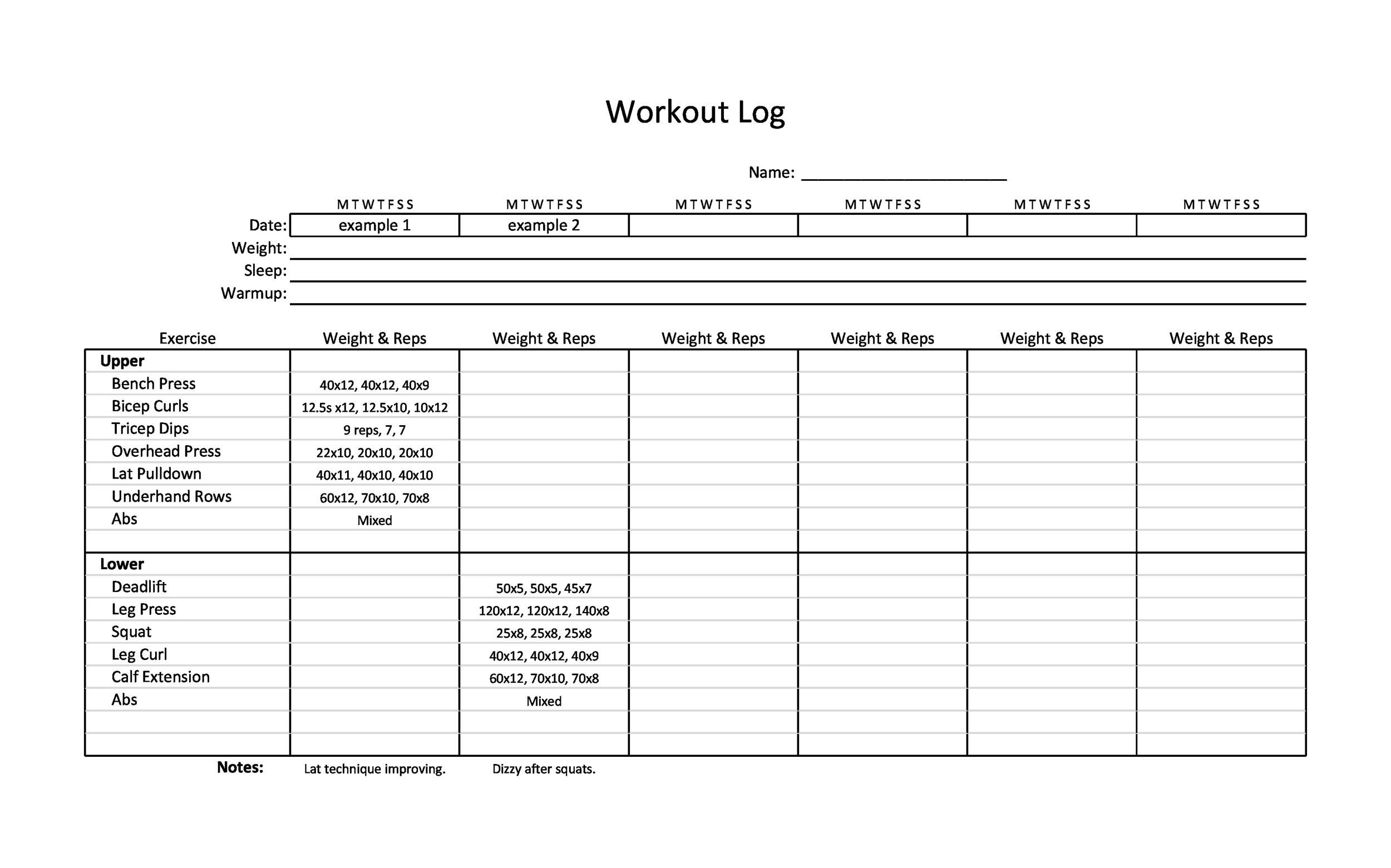 40+ Effective Workout Log  Calendar Templates - Template Lab - printable workout sheet