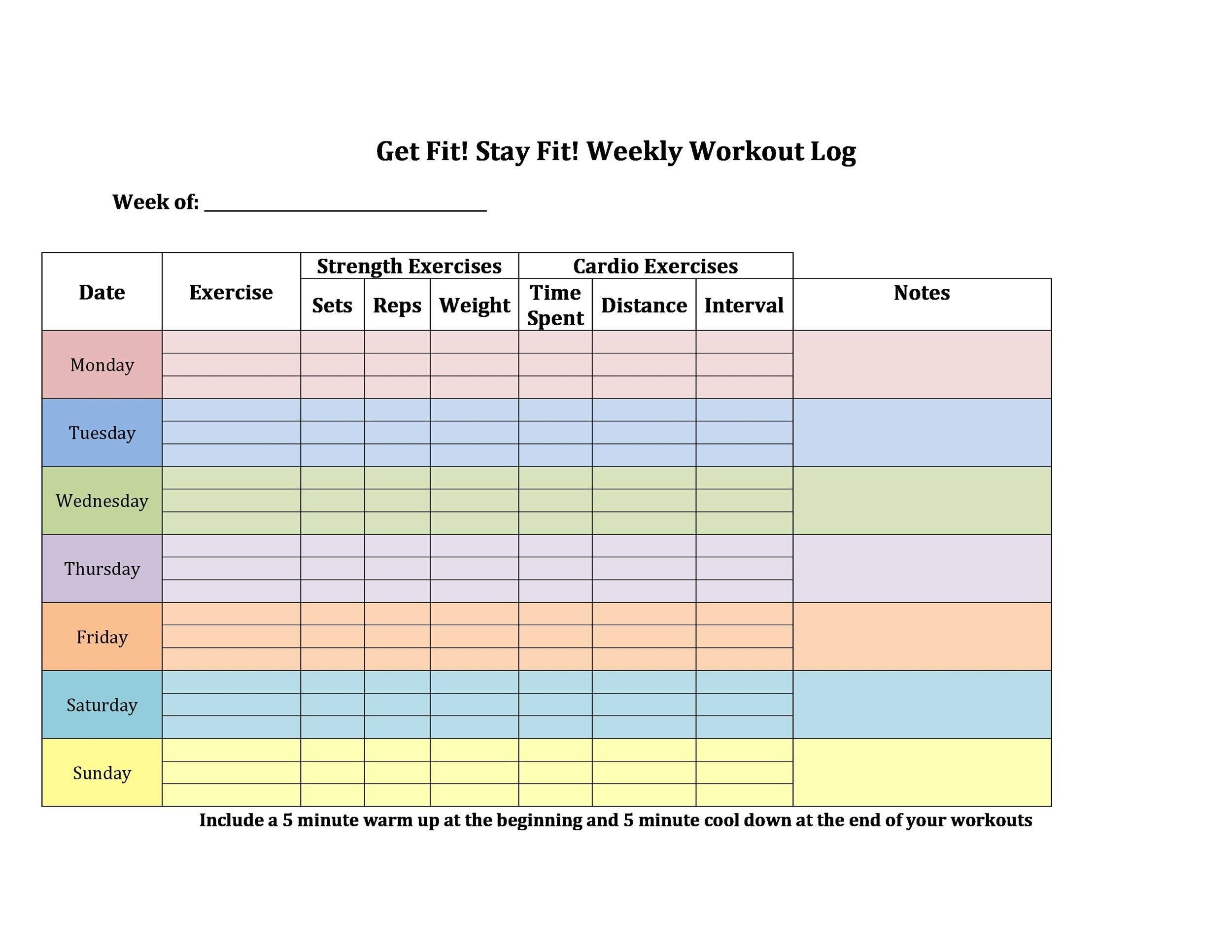 40+ Effective Workout Log  Calendar Templates - Template Lab
