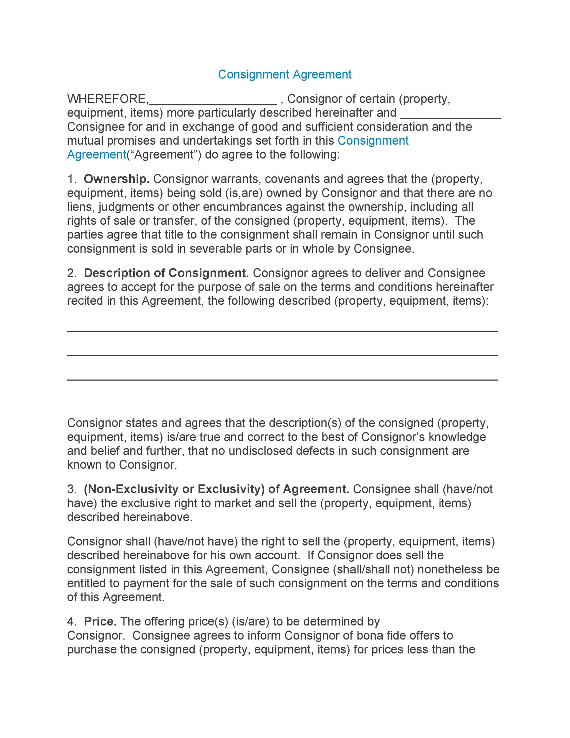 consignment agreement - Teacheng - Consignment Agreement Template