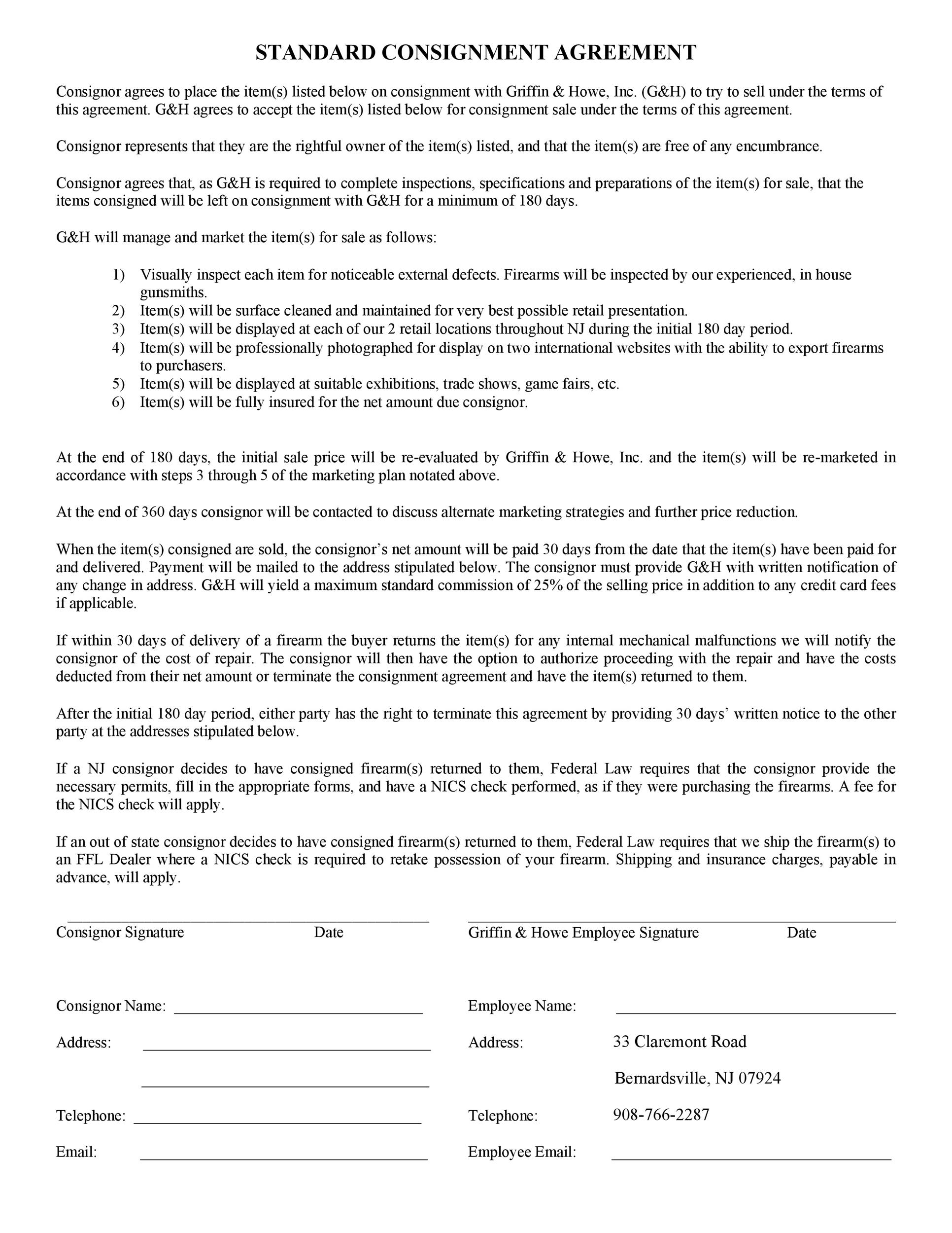 40+ Best Consignment Agreement Templates  Forms ᐅ Template Lab