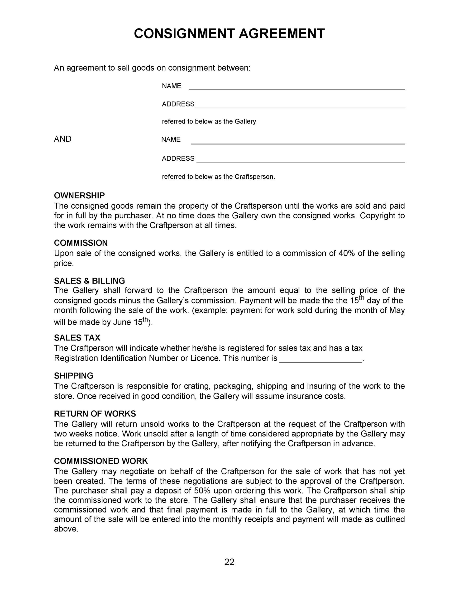 40+ Best Consignment Agreement Templates  Forms - Template Lab - consignment template