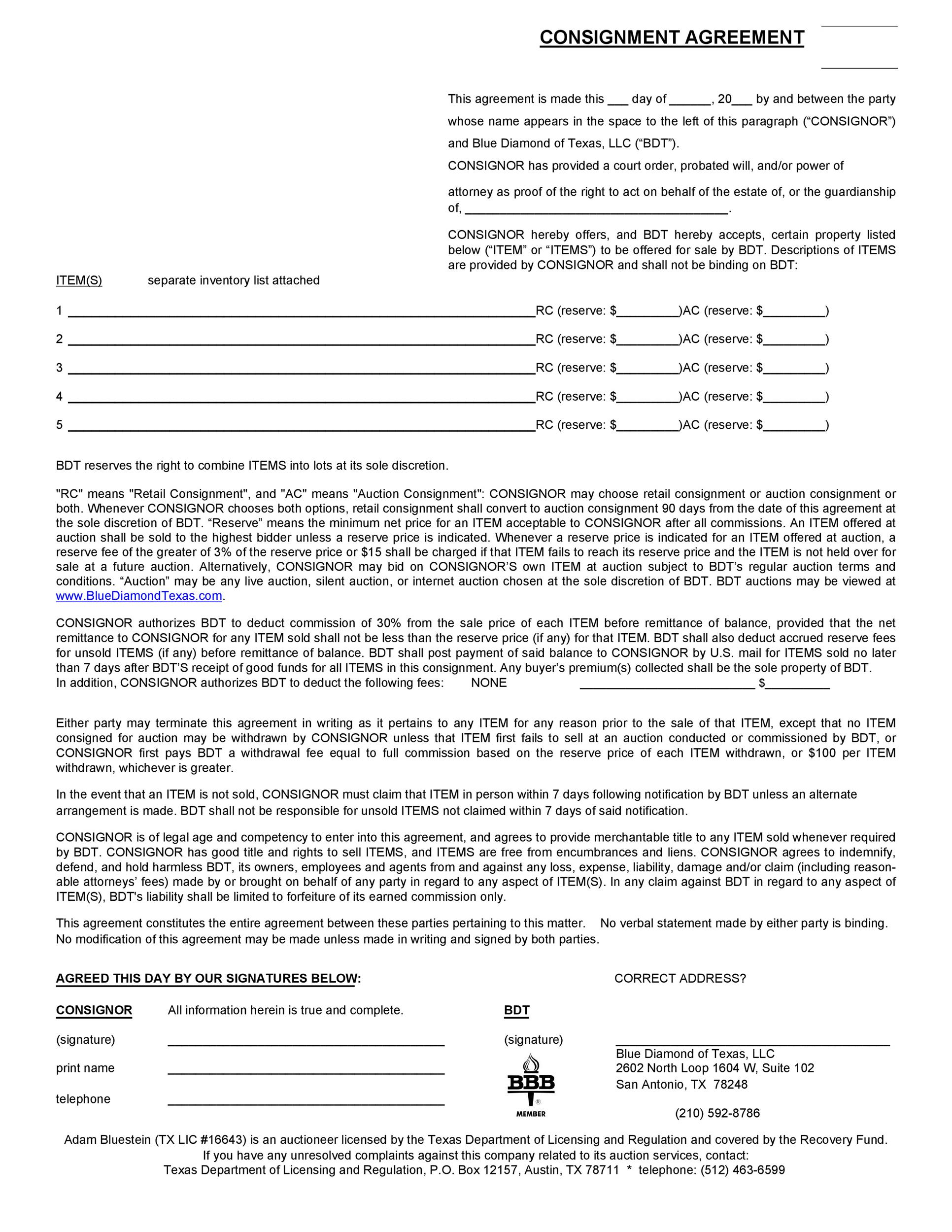 Sample Consignment Agreement Printable Consignment Agreement