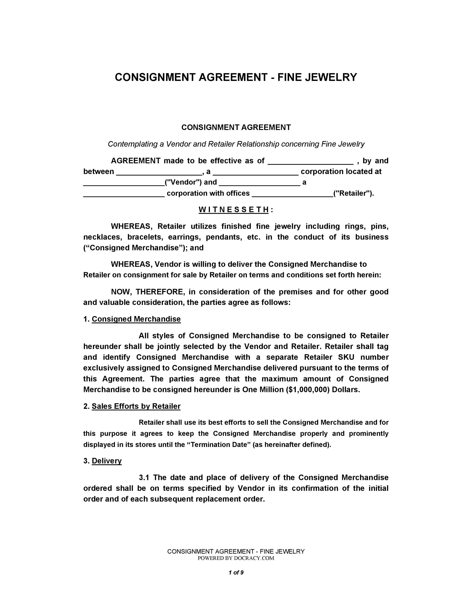 40+ Best Consignment Agreement Templates  Forms - Template Lab